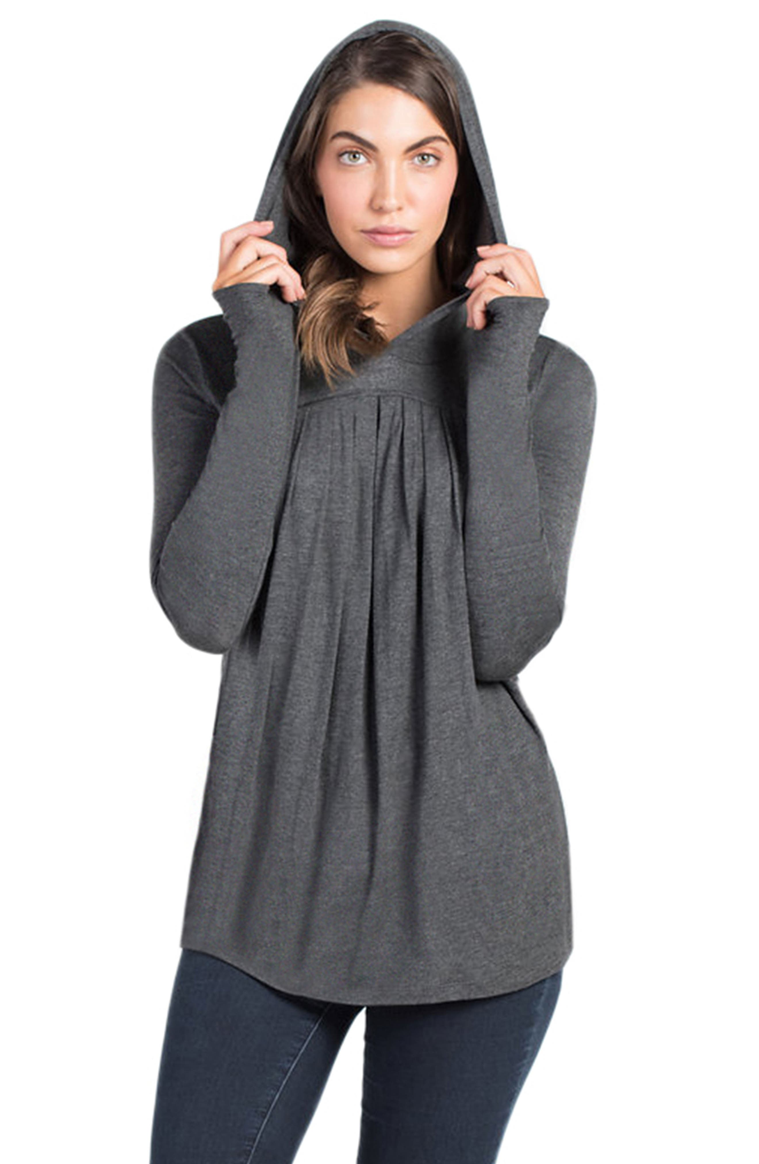 Hooded Maternity/Nursing Tunic,                             Main thumbnail 1, color,                             Charcoal Grey