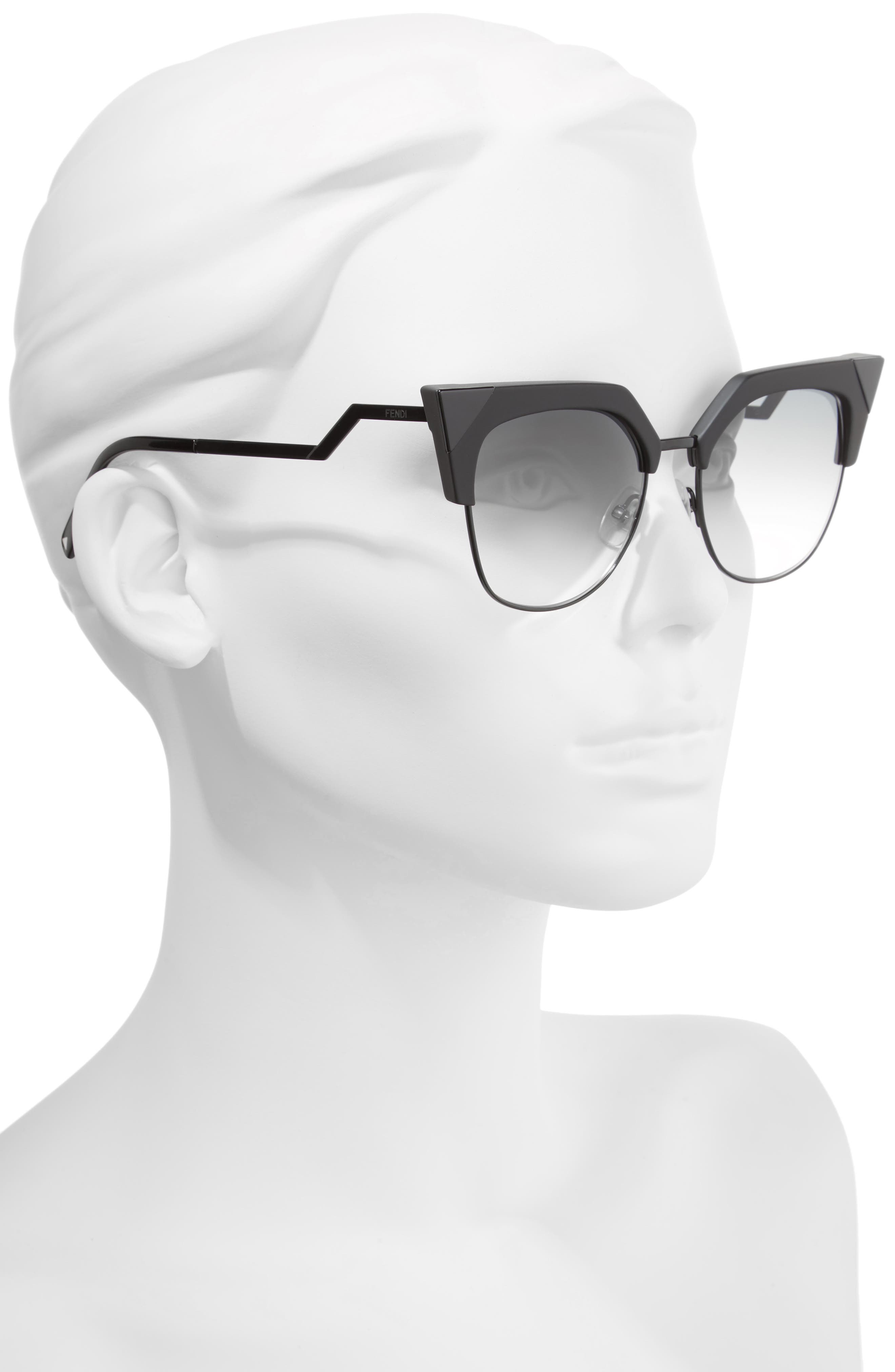 Alternate Image 2  - Fendi 54mm Metal Tipped Cat Eye Sunglasses
