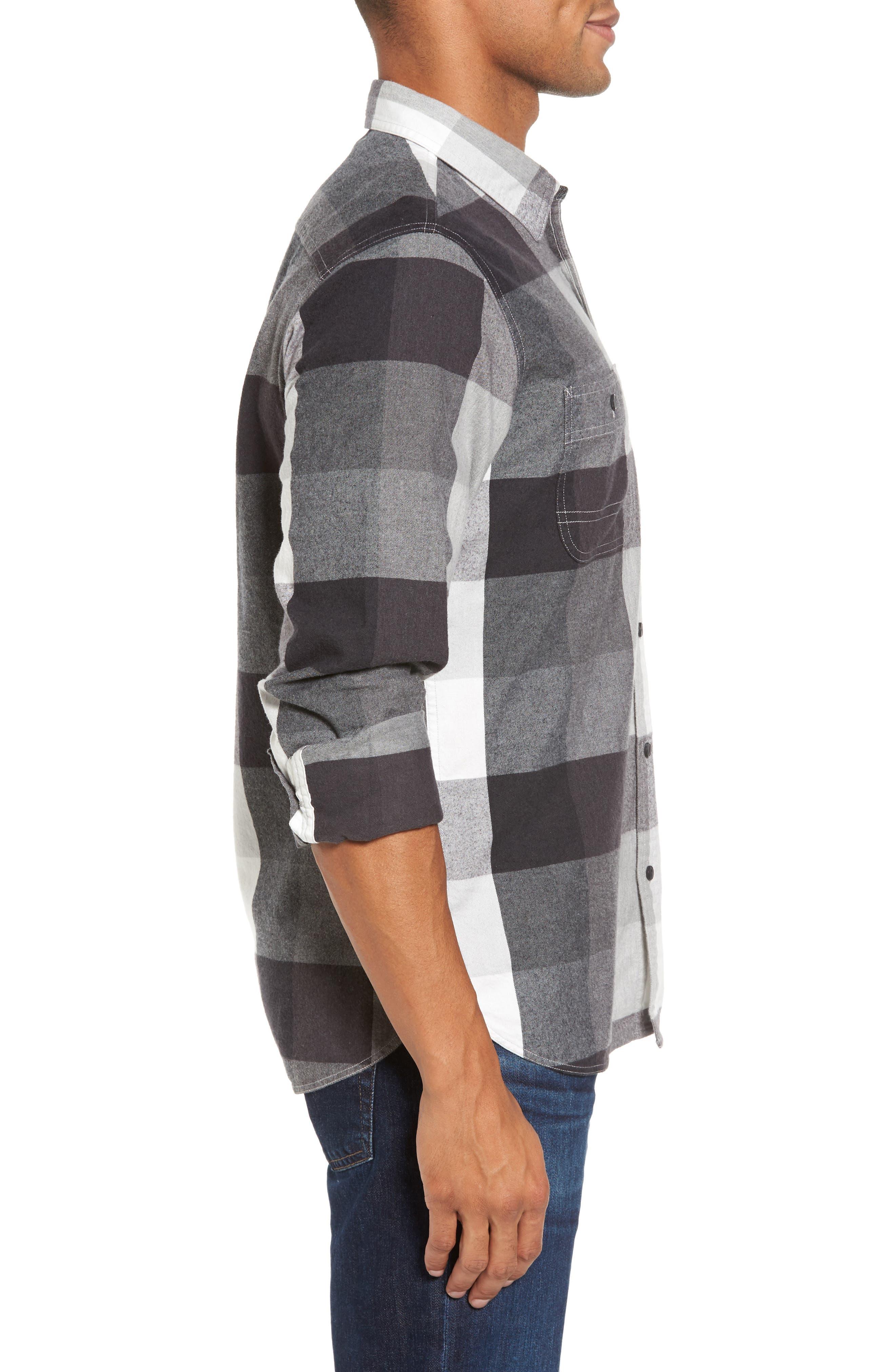 Trim Fit Workwear Check Flannel Shirt,                             Alternate thumbnail 3, color,                             Grey Paloma Buffalo Plaid
