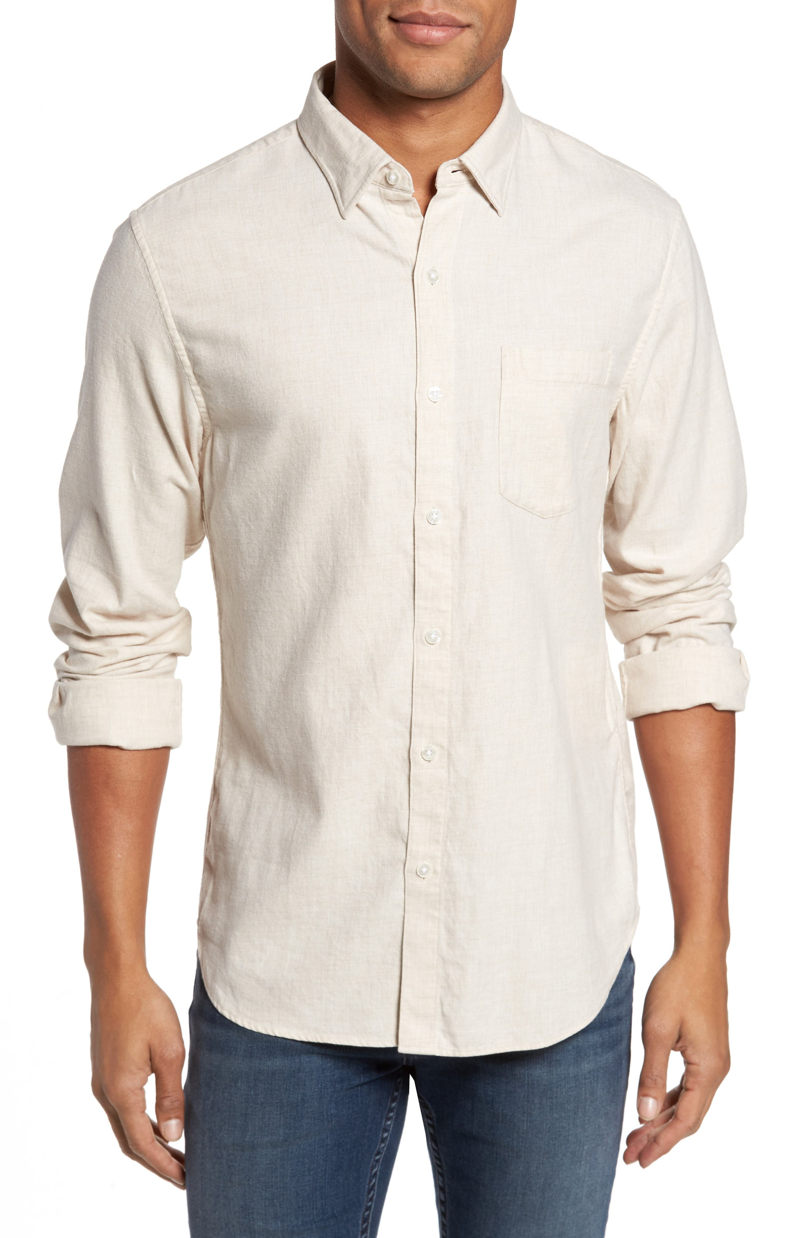 Slim Fit Brushed Twill Sport Shirt,                         Main,                         color, Camel Heather