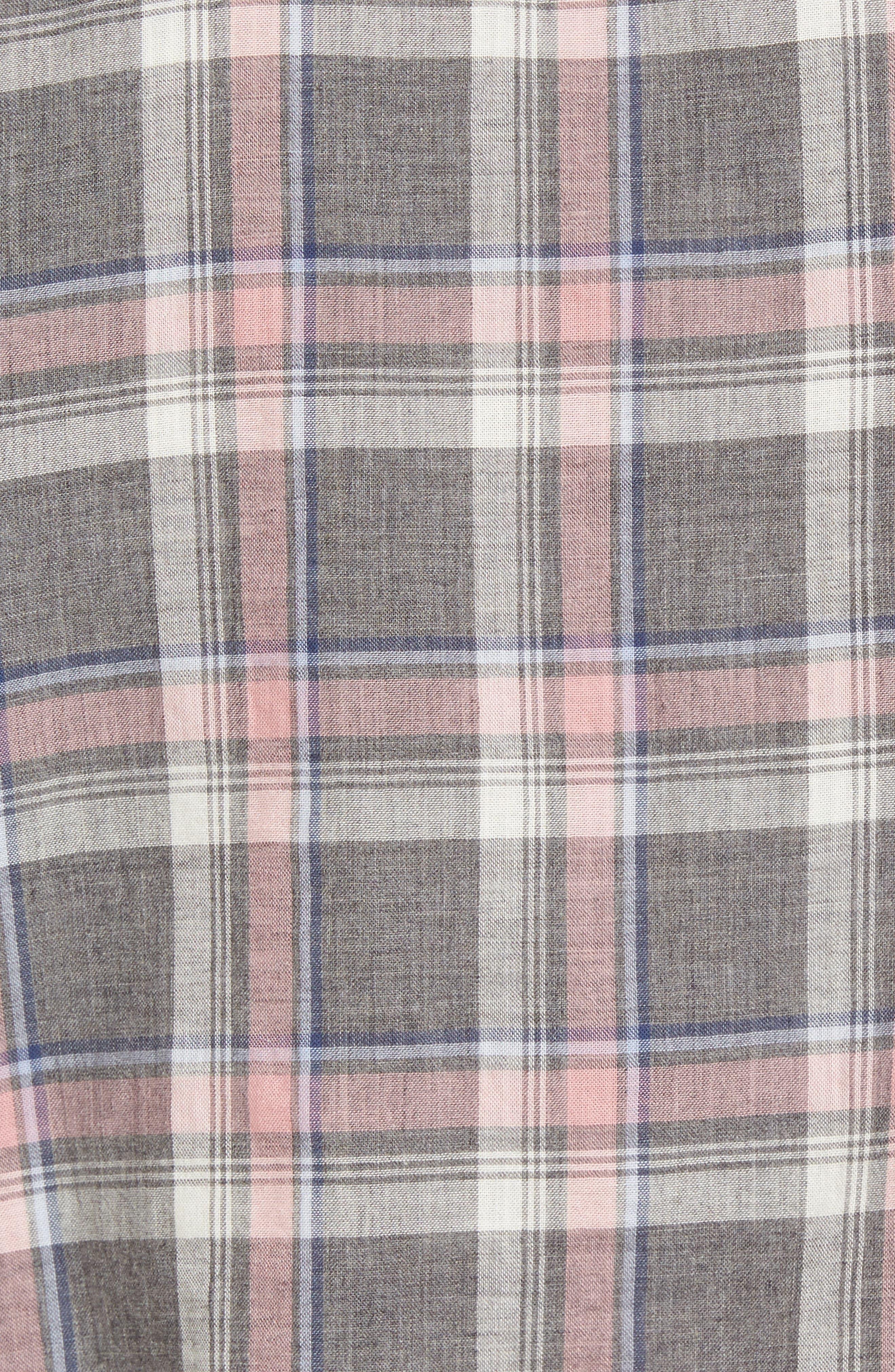Trim Fit Utility Duofold Sport Shirt,                             Alternate thumbnail 5, color,                             Grey Paloma Pink Plaid Duofold