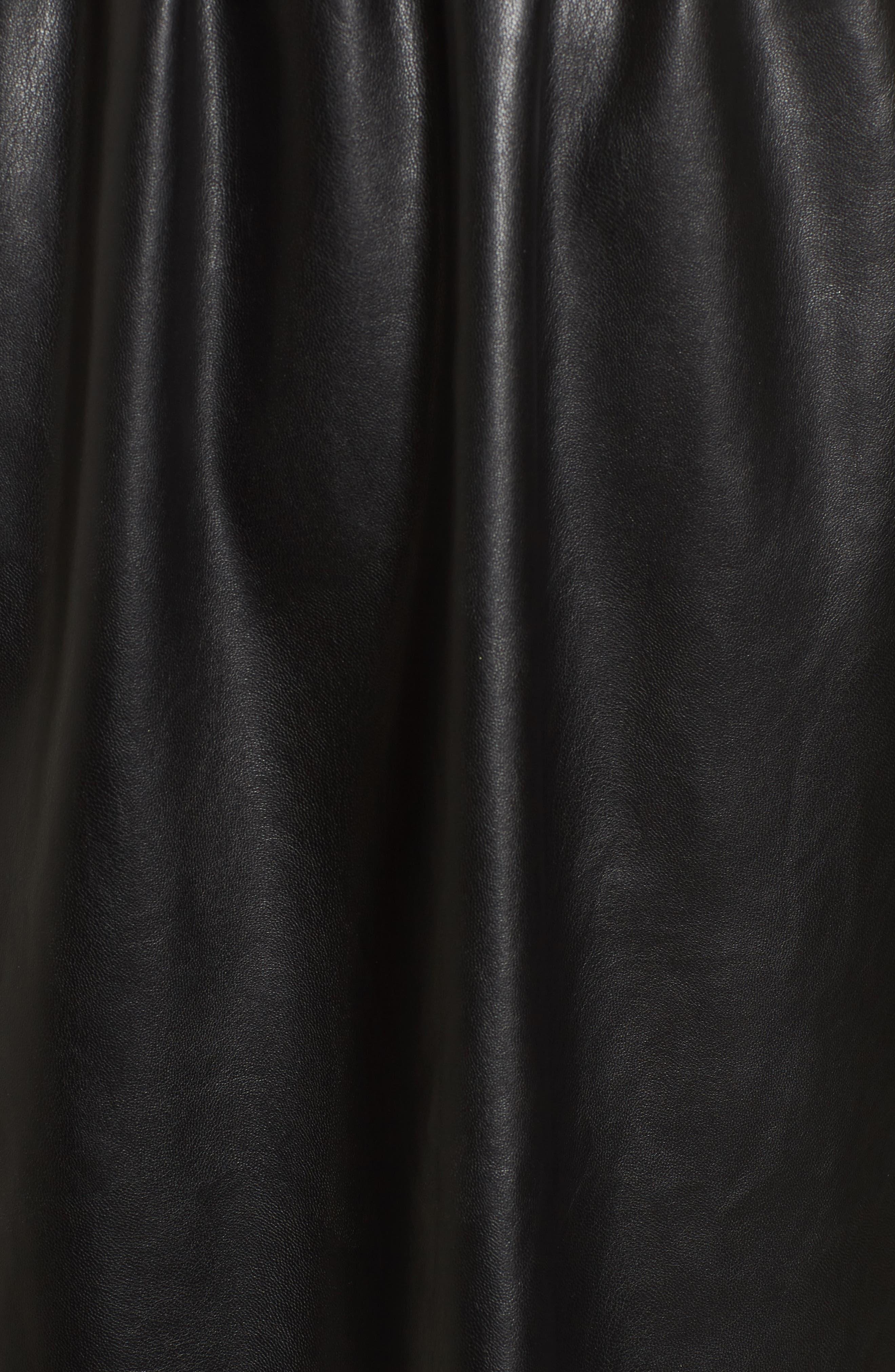 Faux Leather Skater Dress,                             Alternate thumbnail 5, color,                             Black