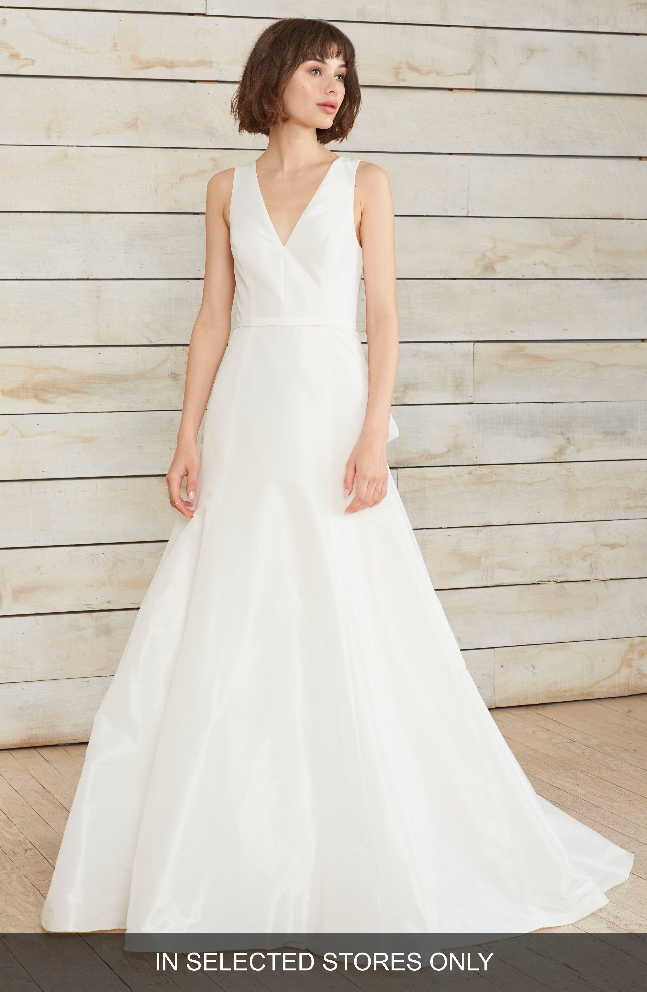 Dillon Illusion Back Fit & Flare Gown,                         Main,                         color, Silk White