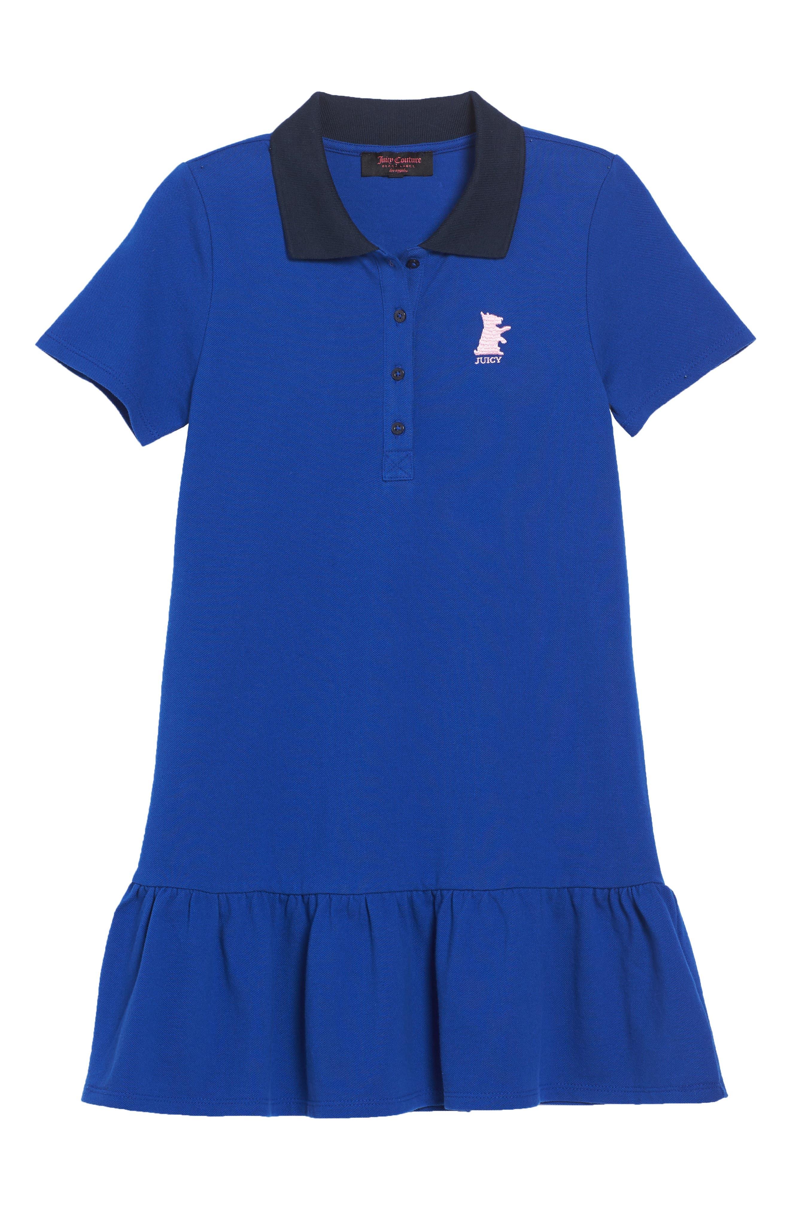 Piqué Polo Dress,                         Main,                         color, Blue Night