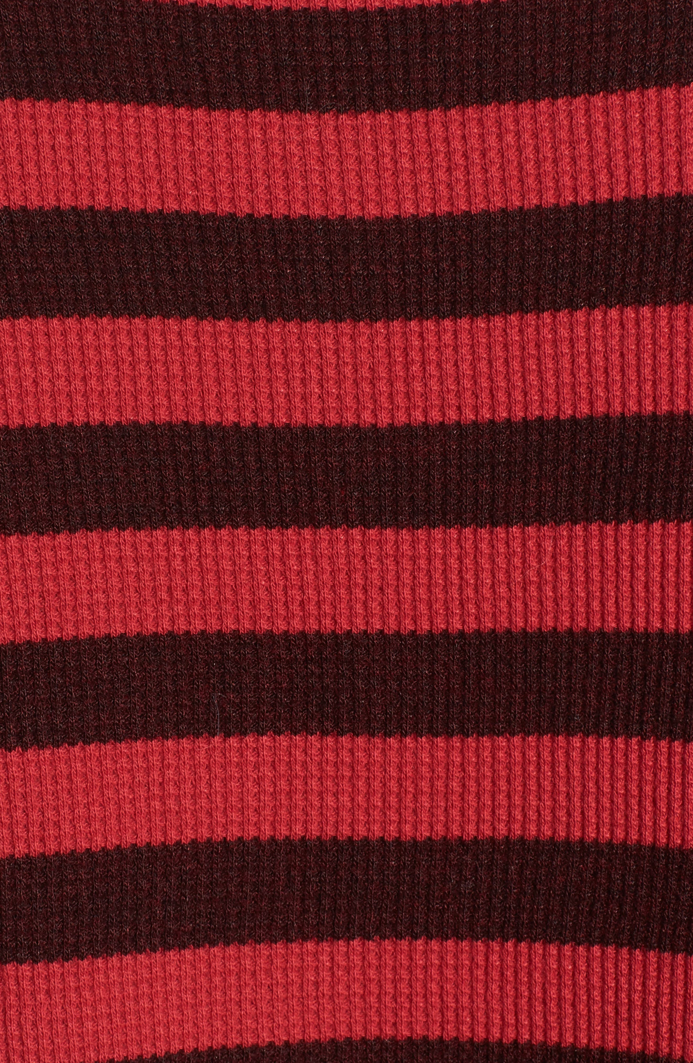 Stripe Thermal Top,                             Alternate thumbnail 5, color,                             Scarlet