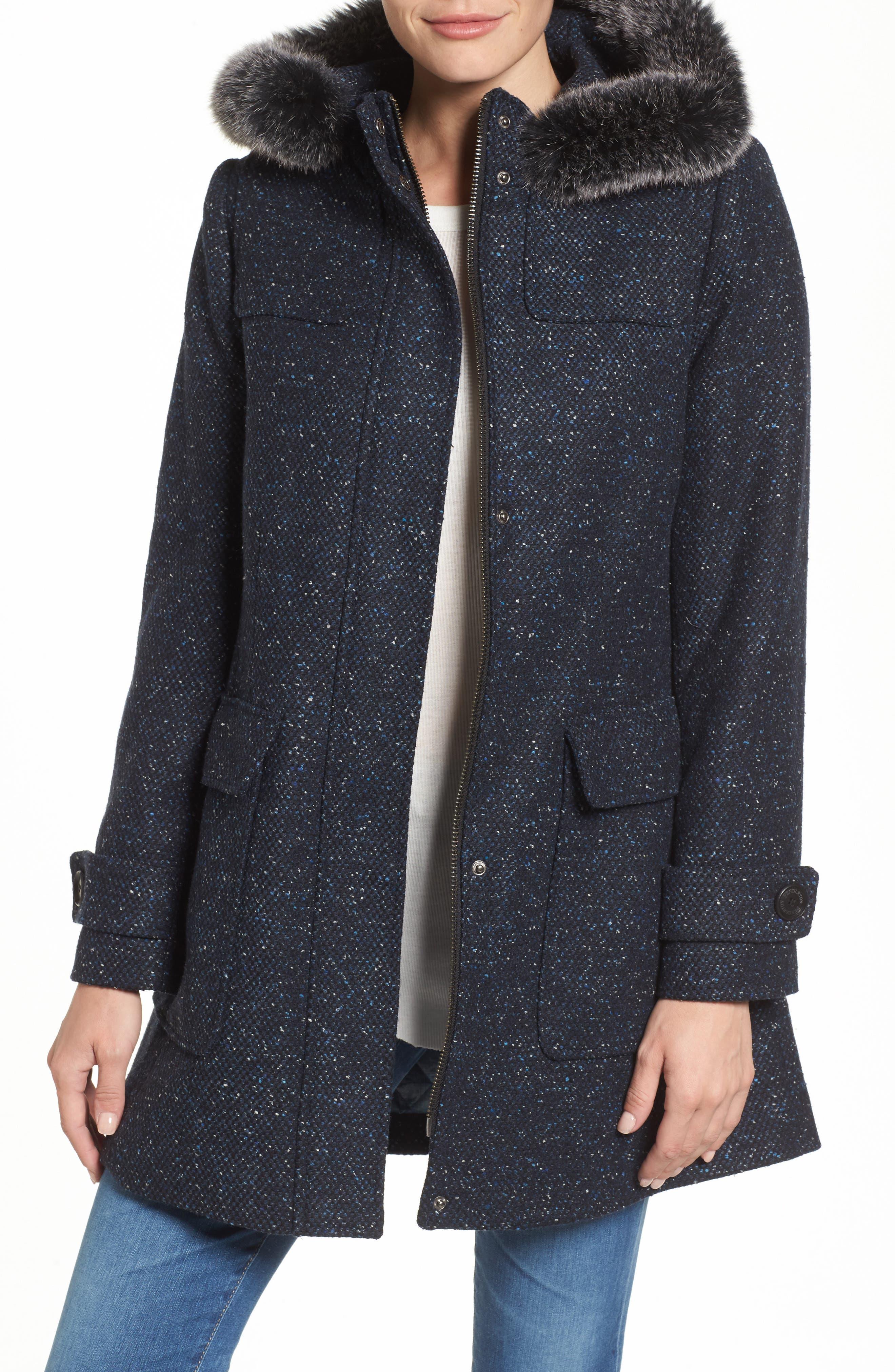 Portland Wool Duffle Coat with Genuine Fur Trim,                         Main,                         color, Navy/ Black Tweed