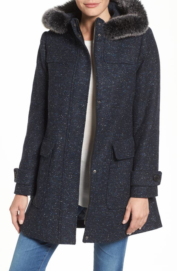 Pendleton Portland Wool Duffle Coat with Genuine Fur Trim | Nordstrom