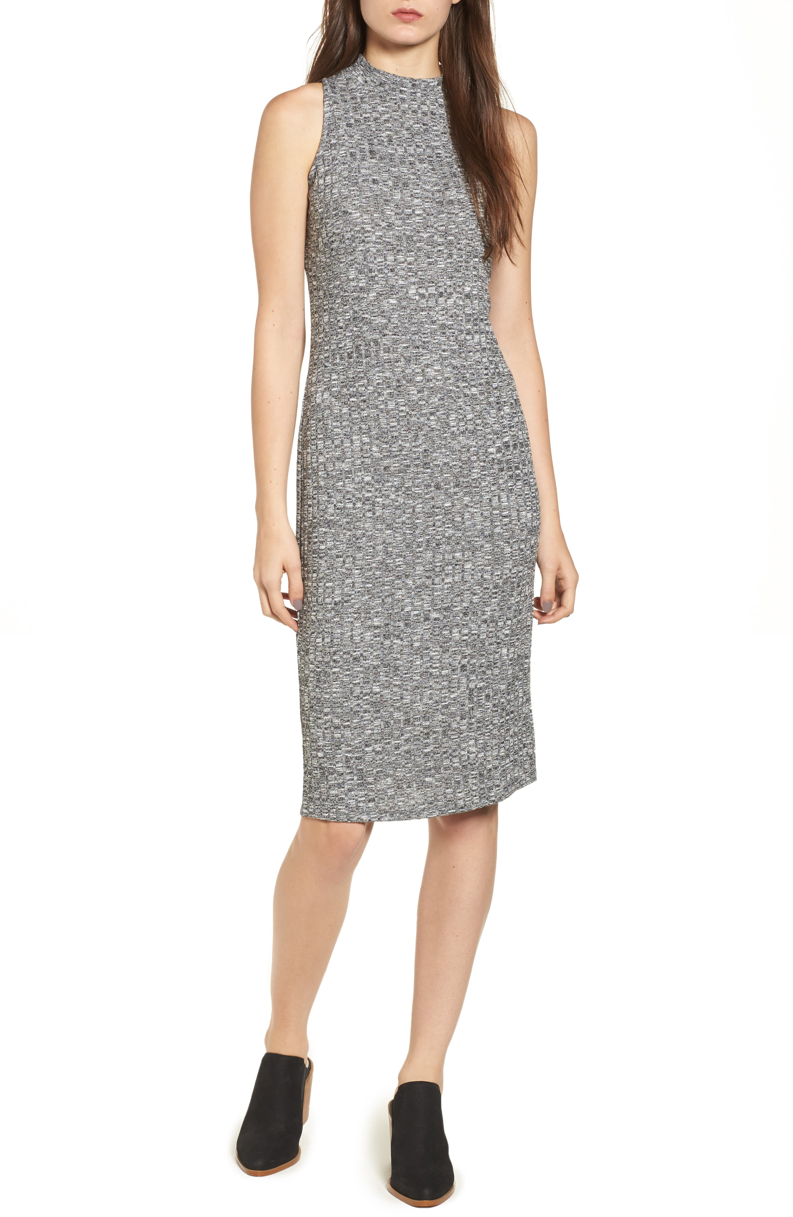 Rib Knit Midi Dress,                         Main,                         color, Grey