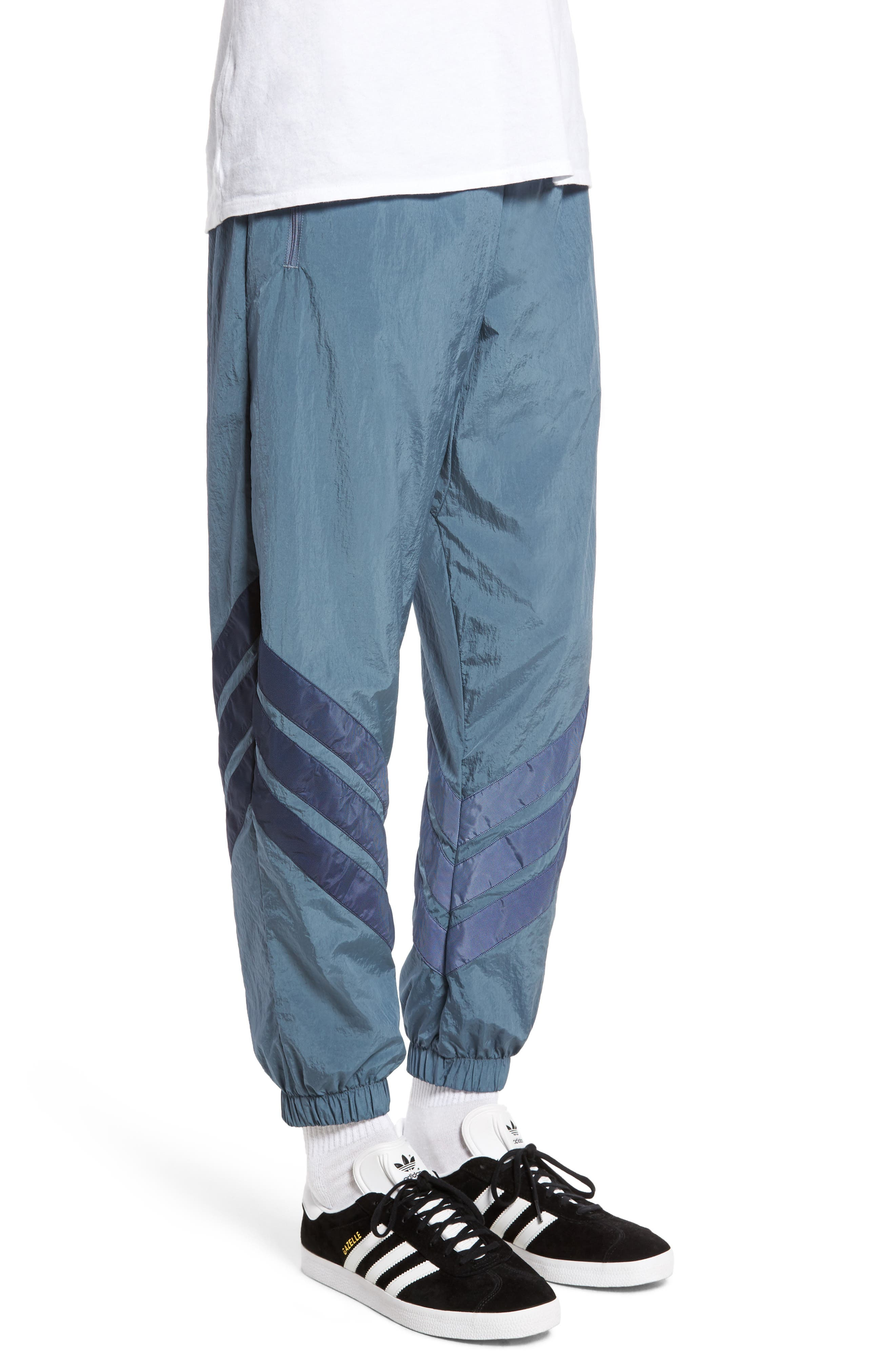 Originals V-Stripe Windpants,                             Alternate thumbnail 3, color,                             Raw Steel/ White