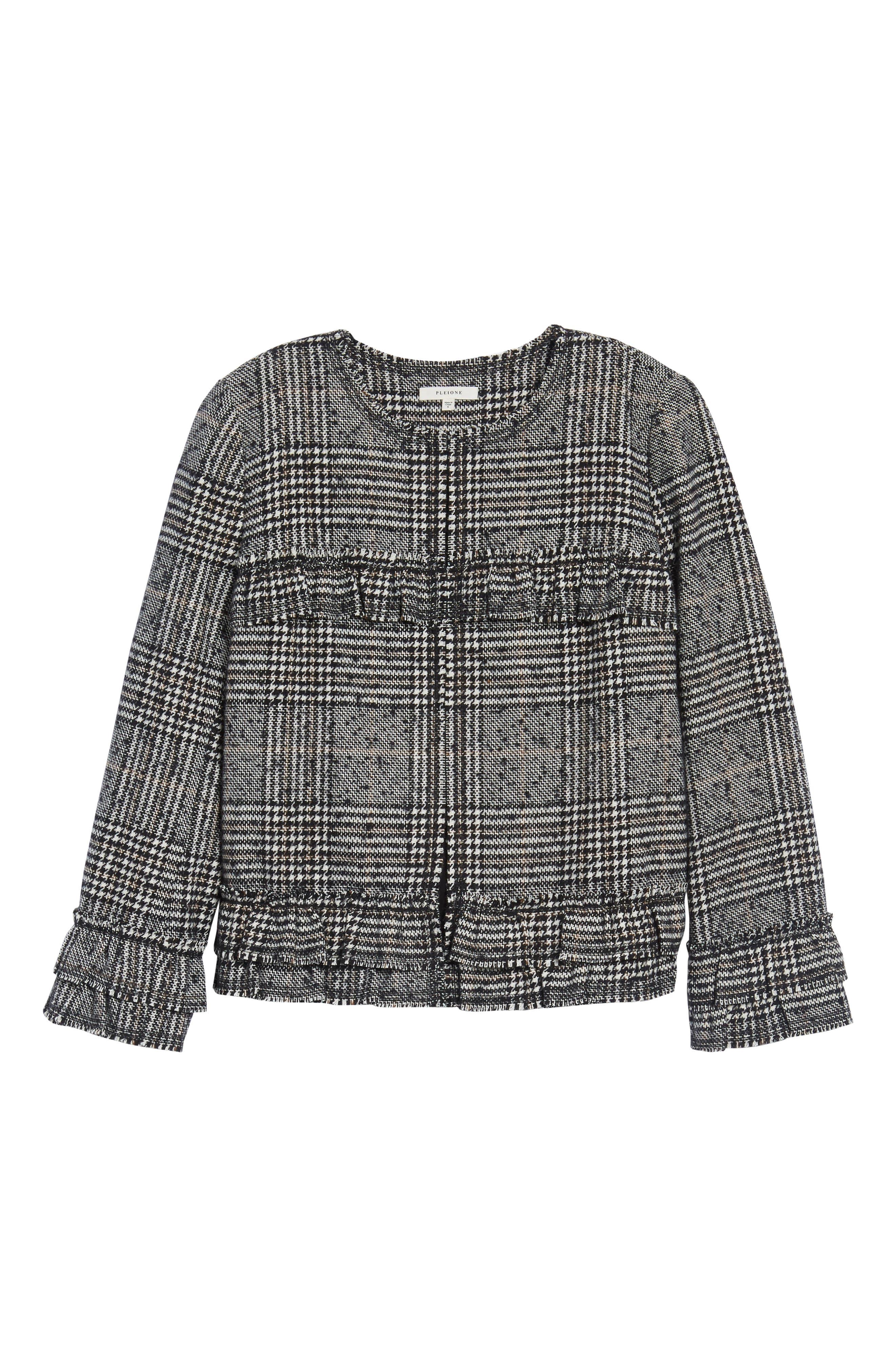 Alternate Image 6  - Pleione Ruffle Plaid Jacket
