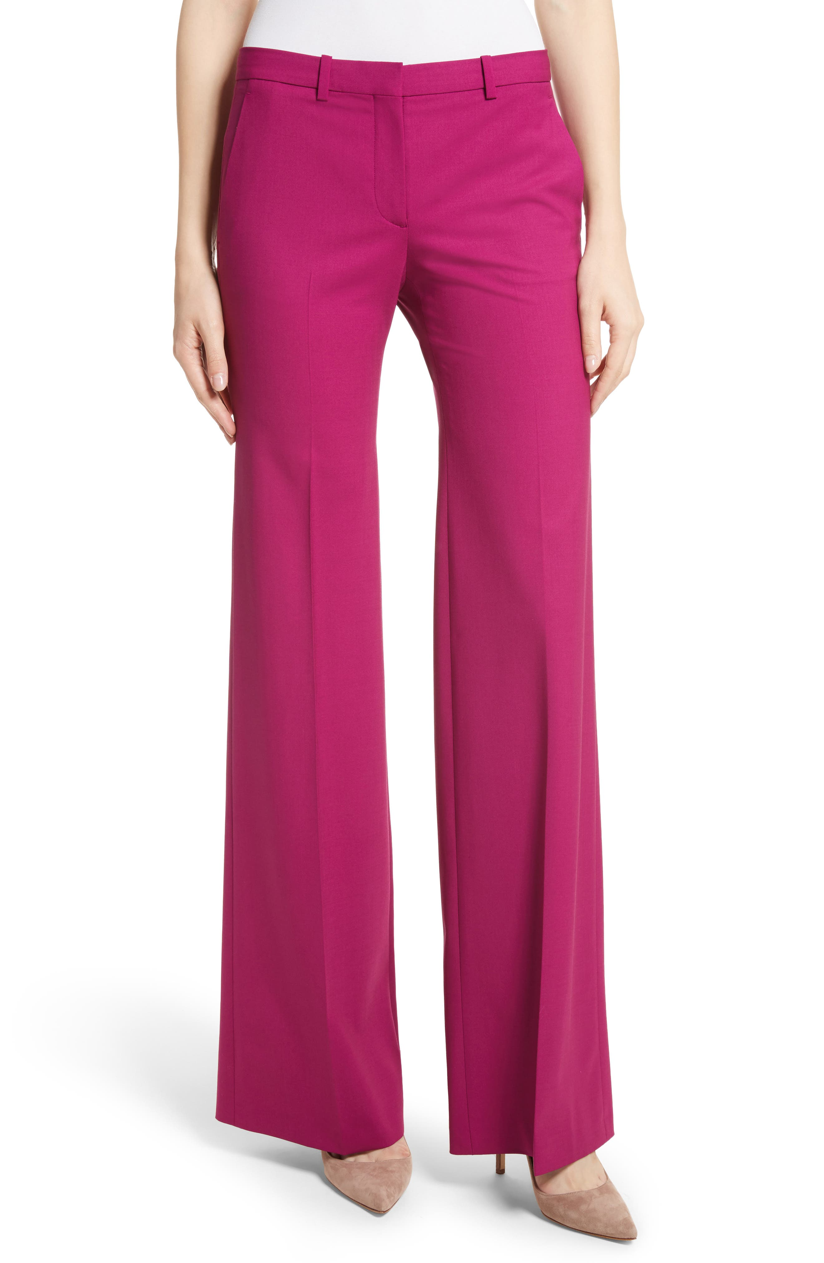Demetria 2 Flare Leg Good Wool Suit Pants,                         Main,                         color, Electric Pink
