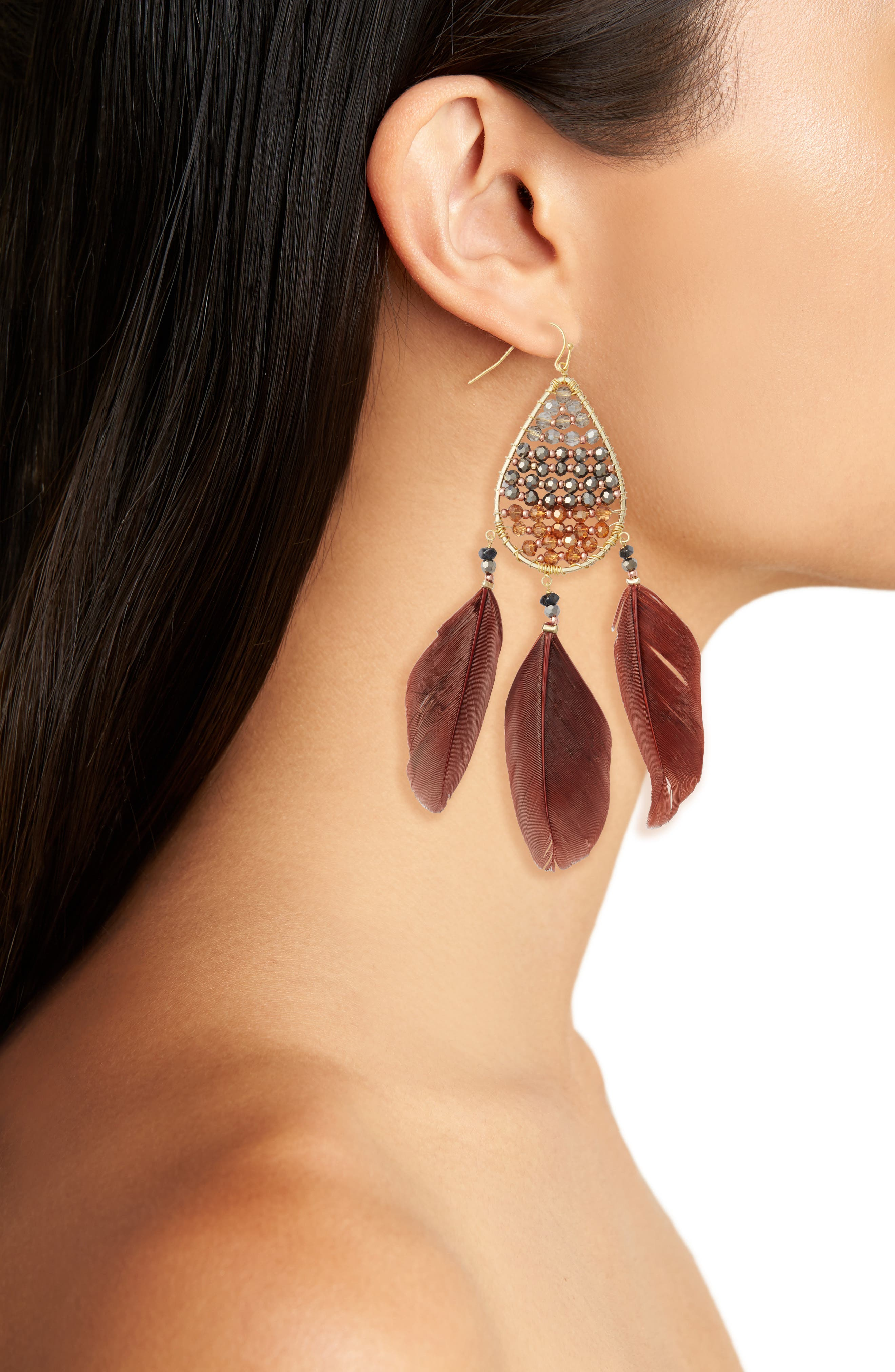Teardrop Feather Earrings,                             Alternate thumbnail 2, color,                             Gold