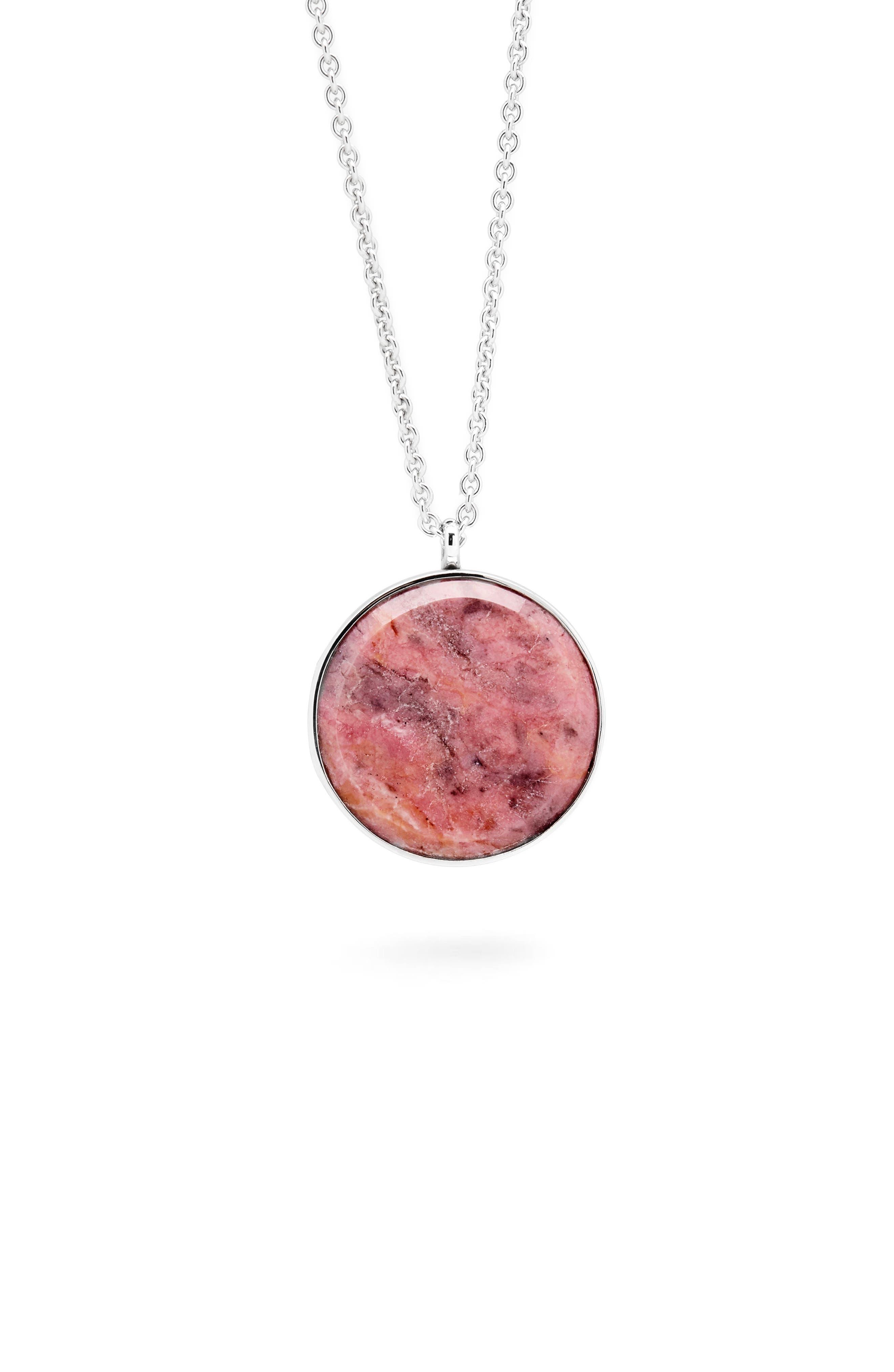 Tom Wood Large Pink Rhodonite Medallion Necklace
