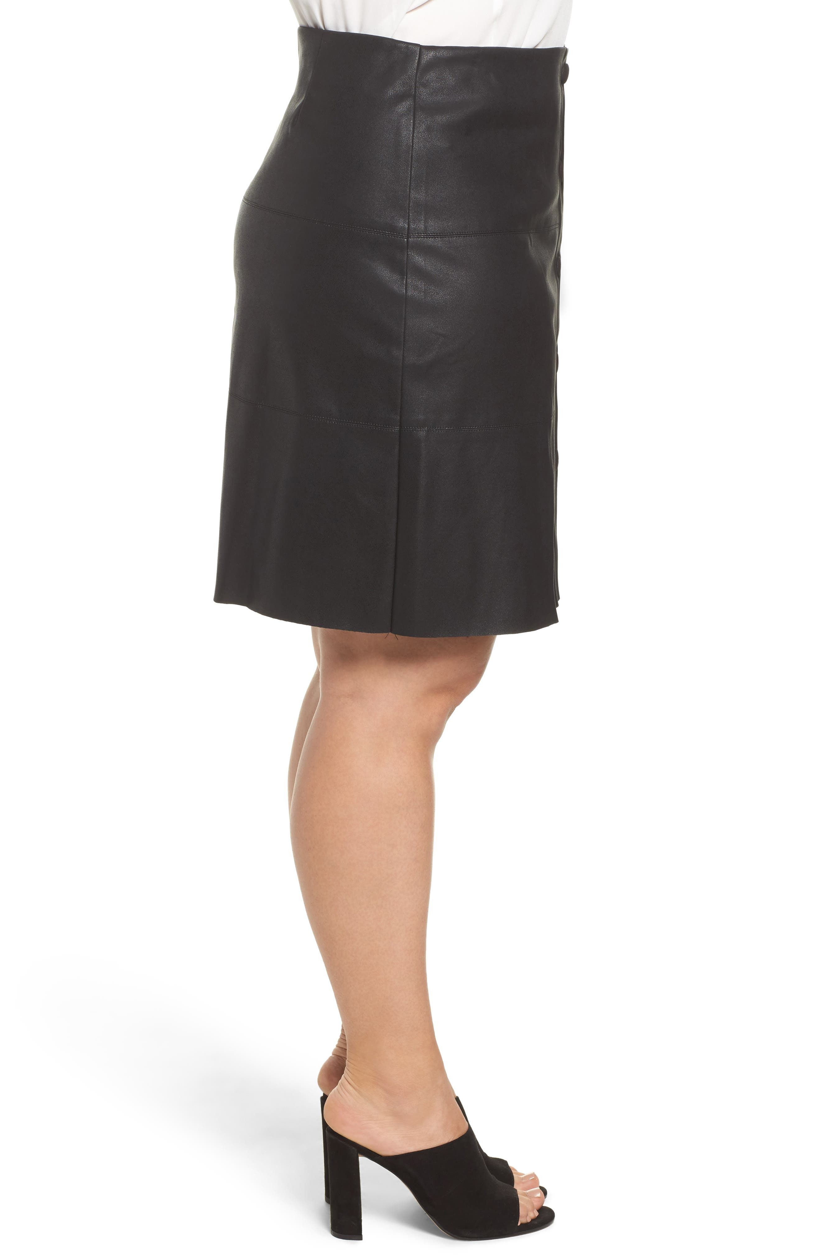 Button Front Faux Leather Skirt,                             Alternate thumbnail 3, color,                             Black
