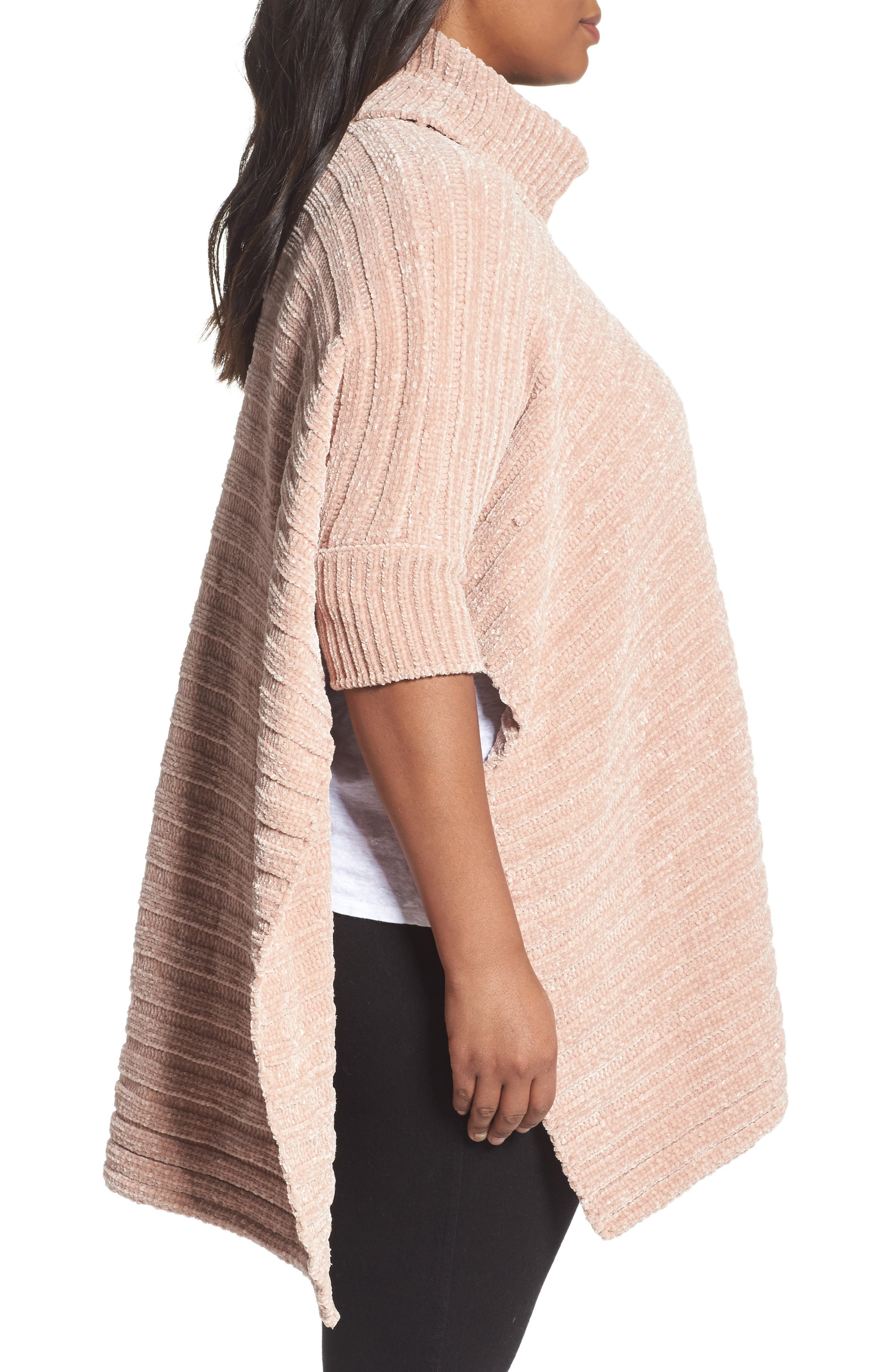 Chenille Poncho,                             Alternate thumbnail 3, color,                             Pink Adobe
