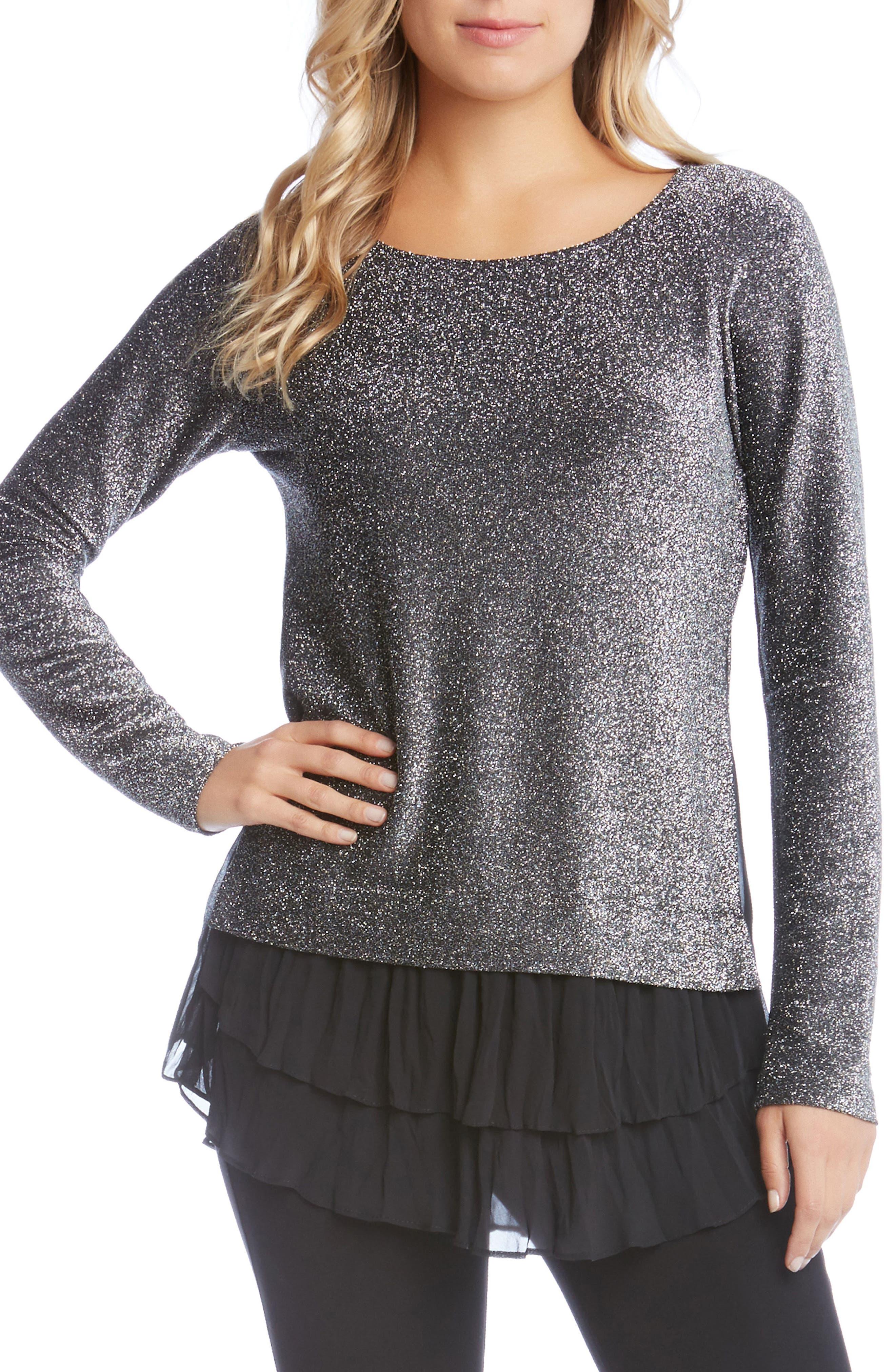 Sheer Hem Sparkle Top,                         Main,                         color, Black W/ Silver