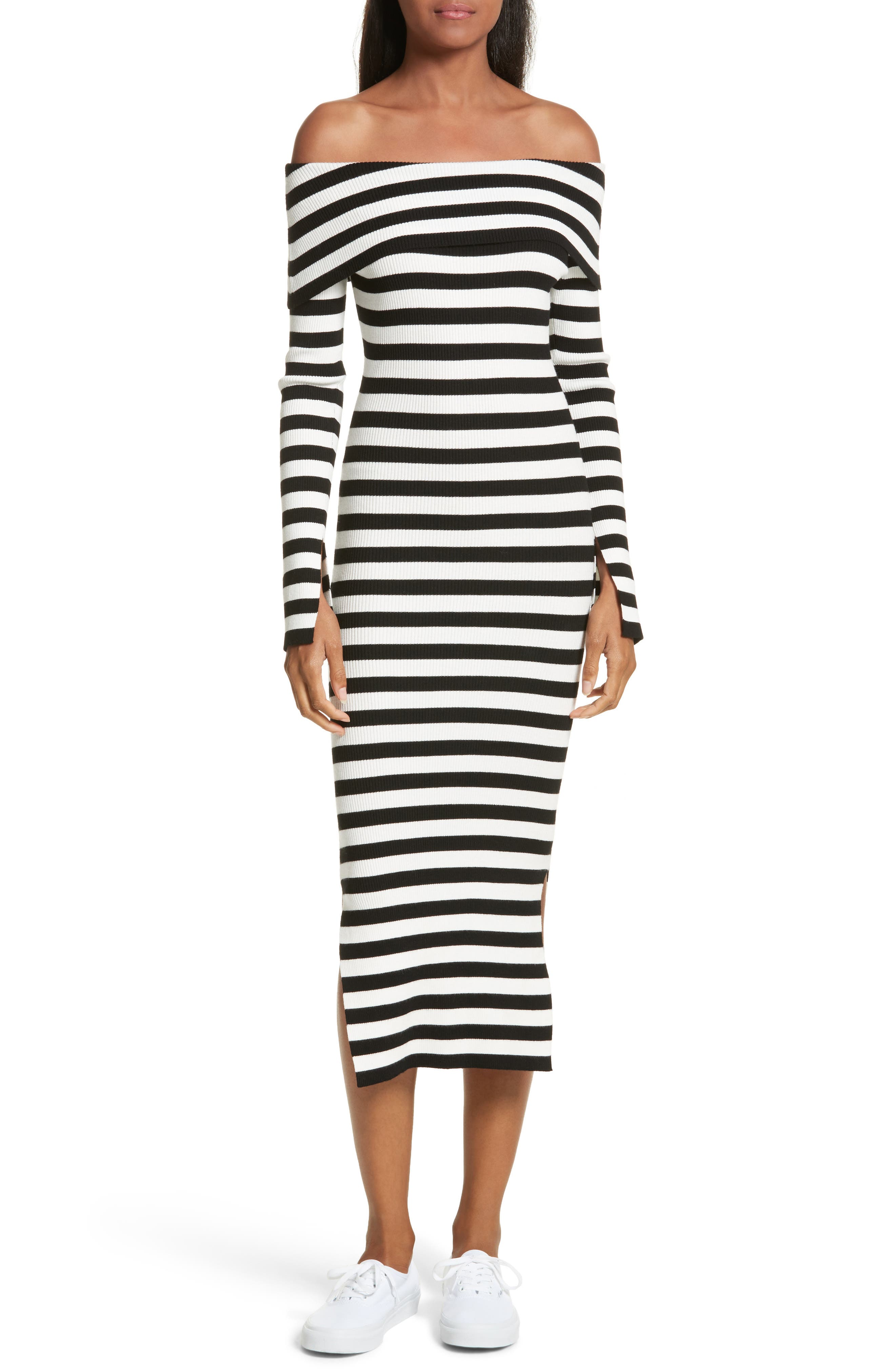 Off the Shoulder Ribbed Maxi Dress,                         Main,                         color, Black/ White