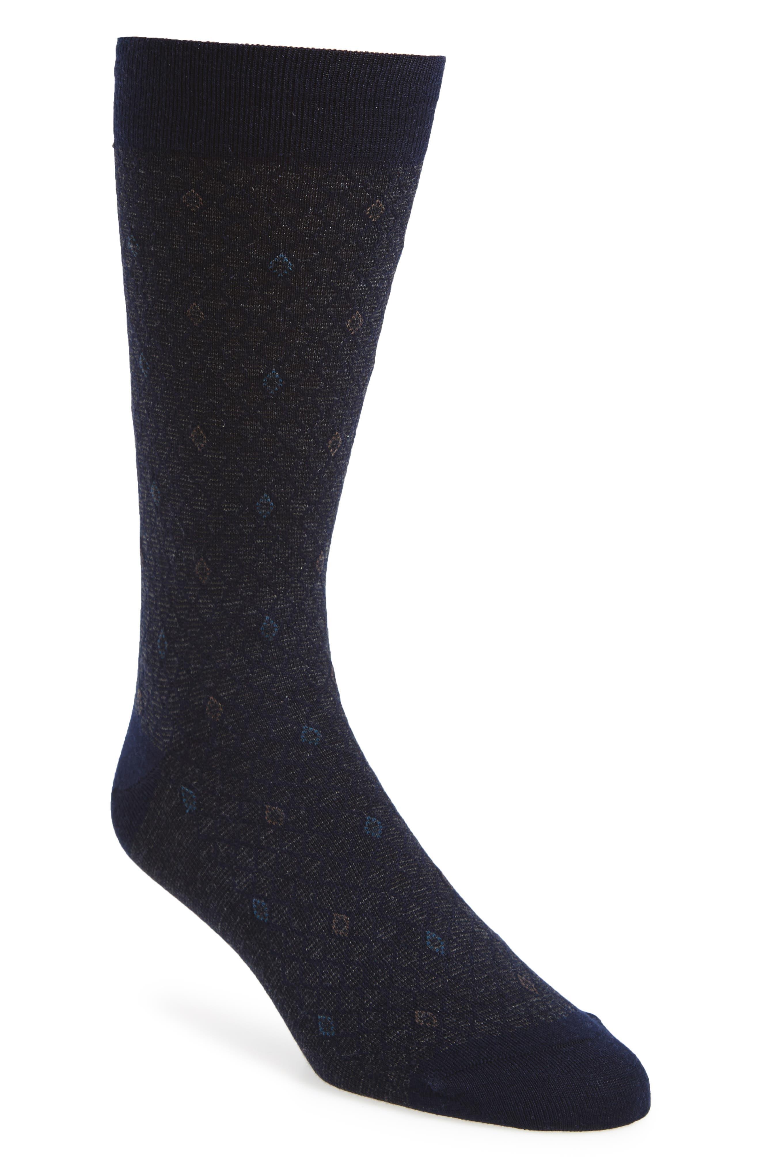 Diamond Wool Blend Socks,                             Main thumbnail 1, color,                             Navy