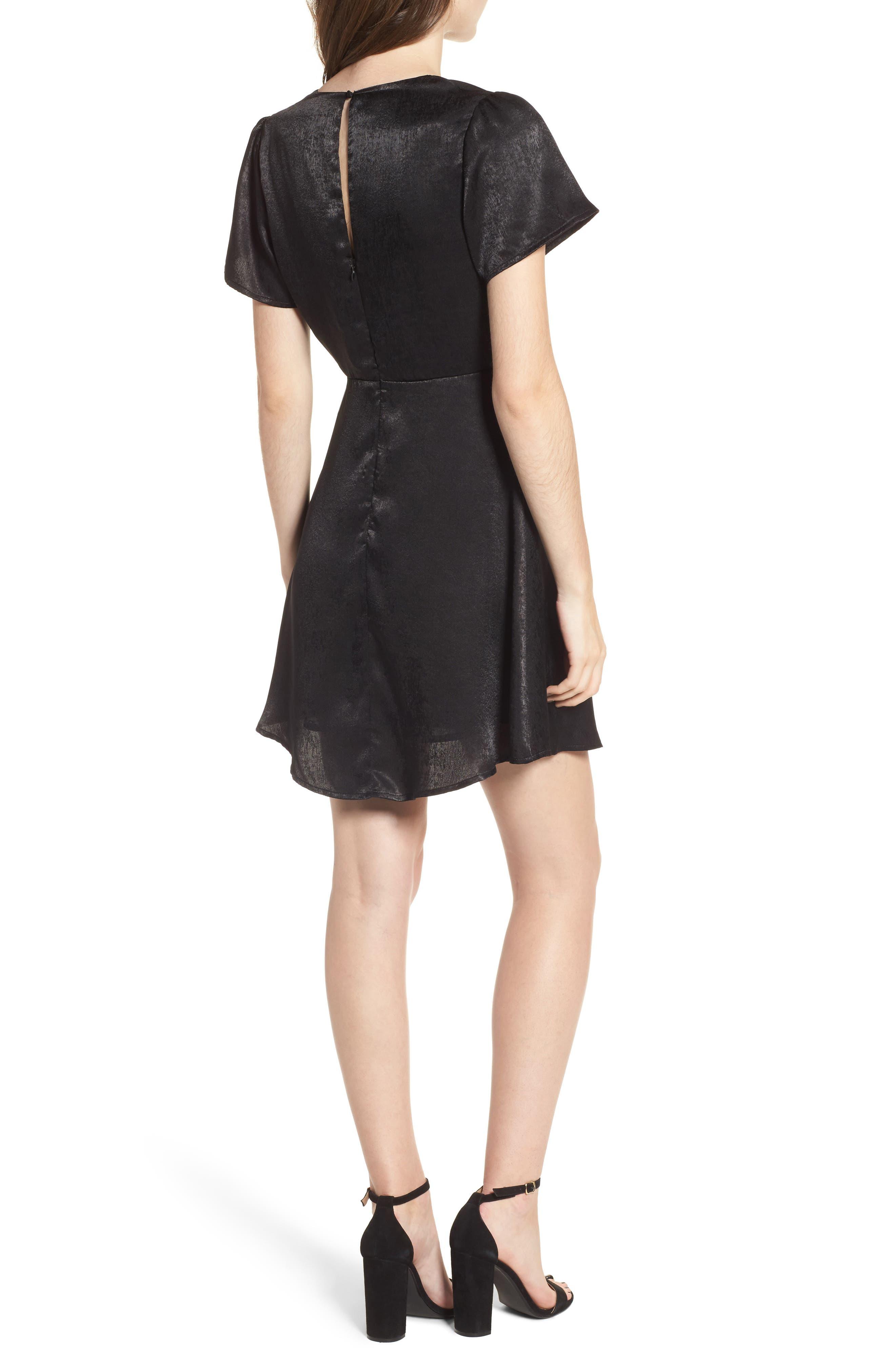 Satin Faux Wrap Dress,                             Alternate thumbnail 2, color,                             Black