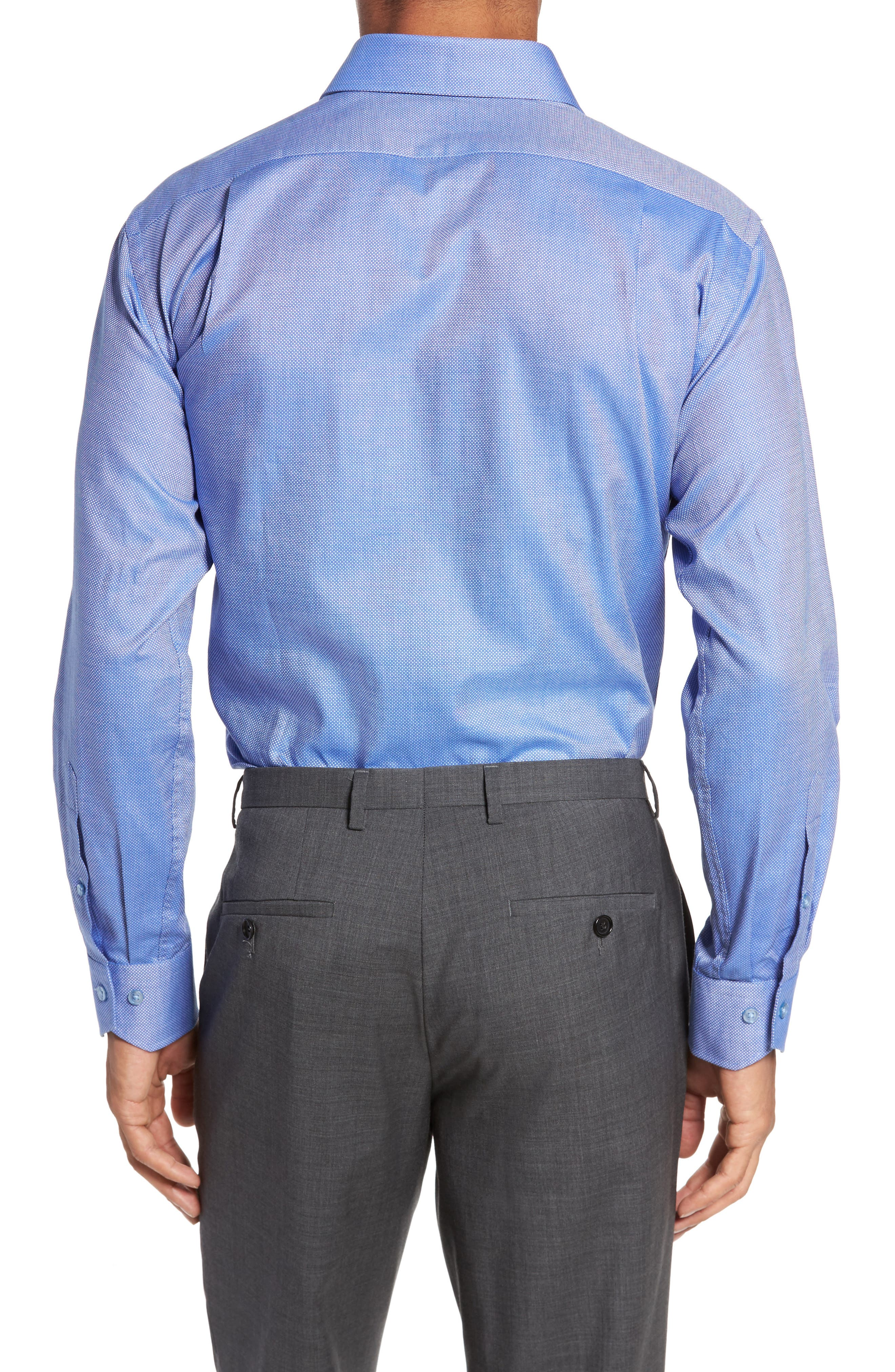 Trim Fit Textured Dress Shirt,                             Alternate thumbnail 2, color,                             Navy