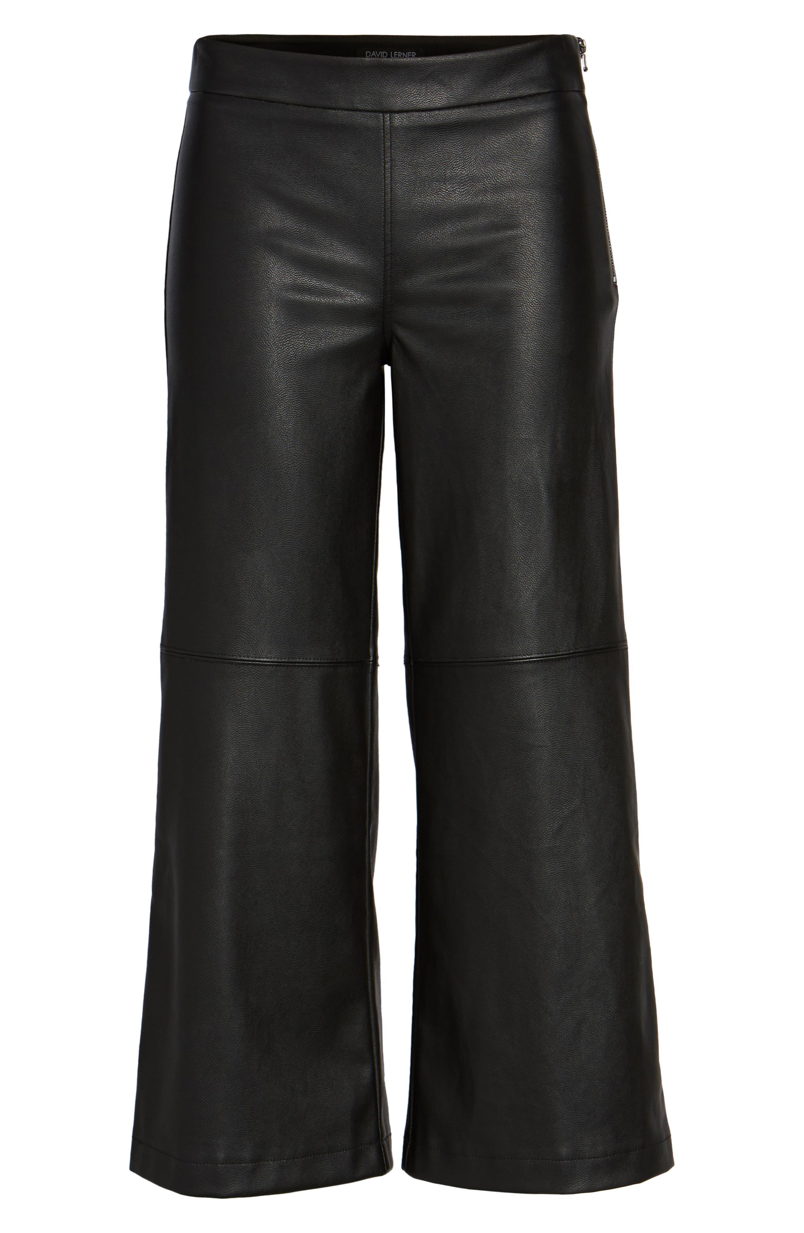 Varick Wide Leg Faux Leather Culottes,                             Alternate thumbnail 6, color,                             Black