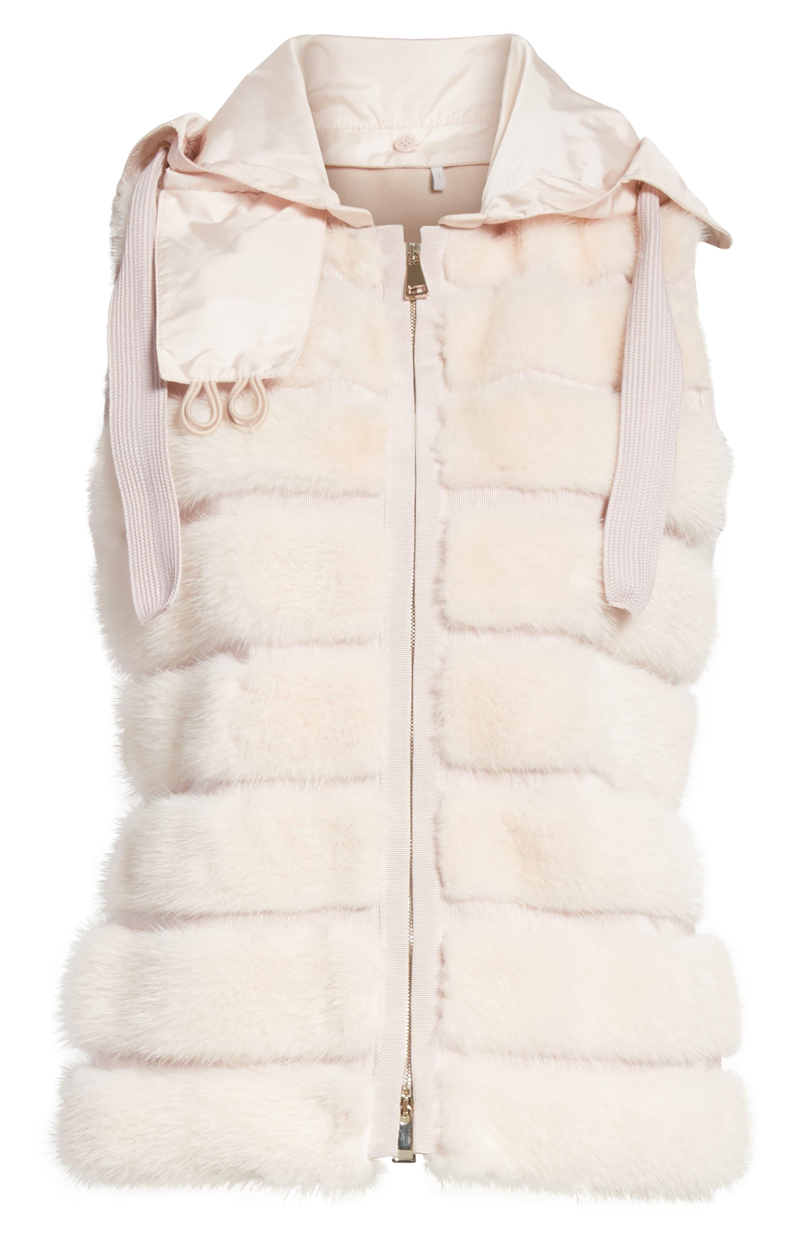 Ametrine Wool & Cashmere Vest with Genuine Mink Fur Trim & Removable Hood,                             Alternate thumbnail 7, color,                             Blush