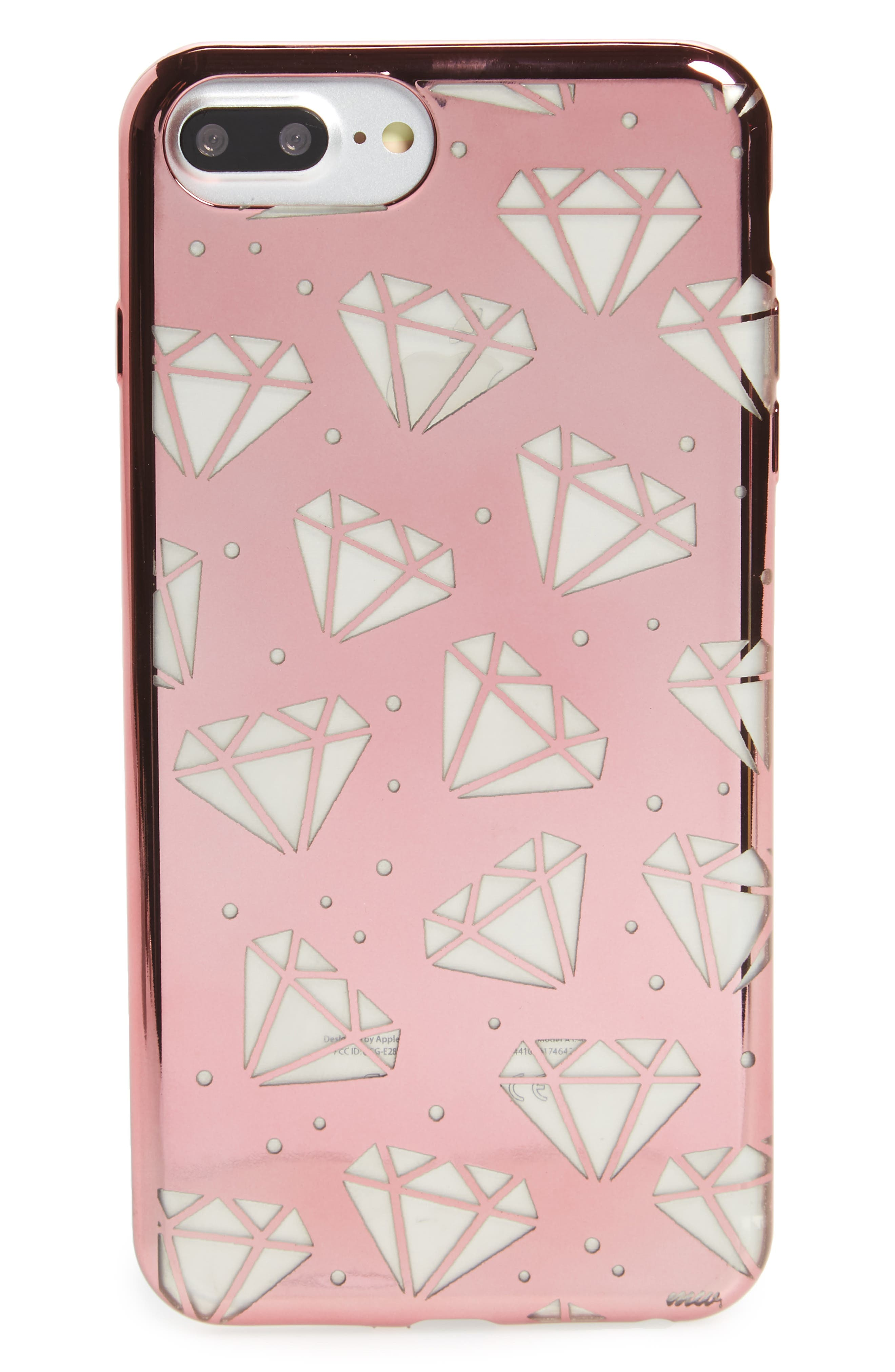 Galactic Diamonds iPhone 6/6s/7 Case,                         Main,                         color, Clear / Rose Gold