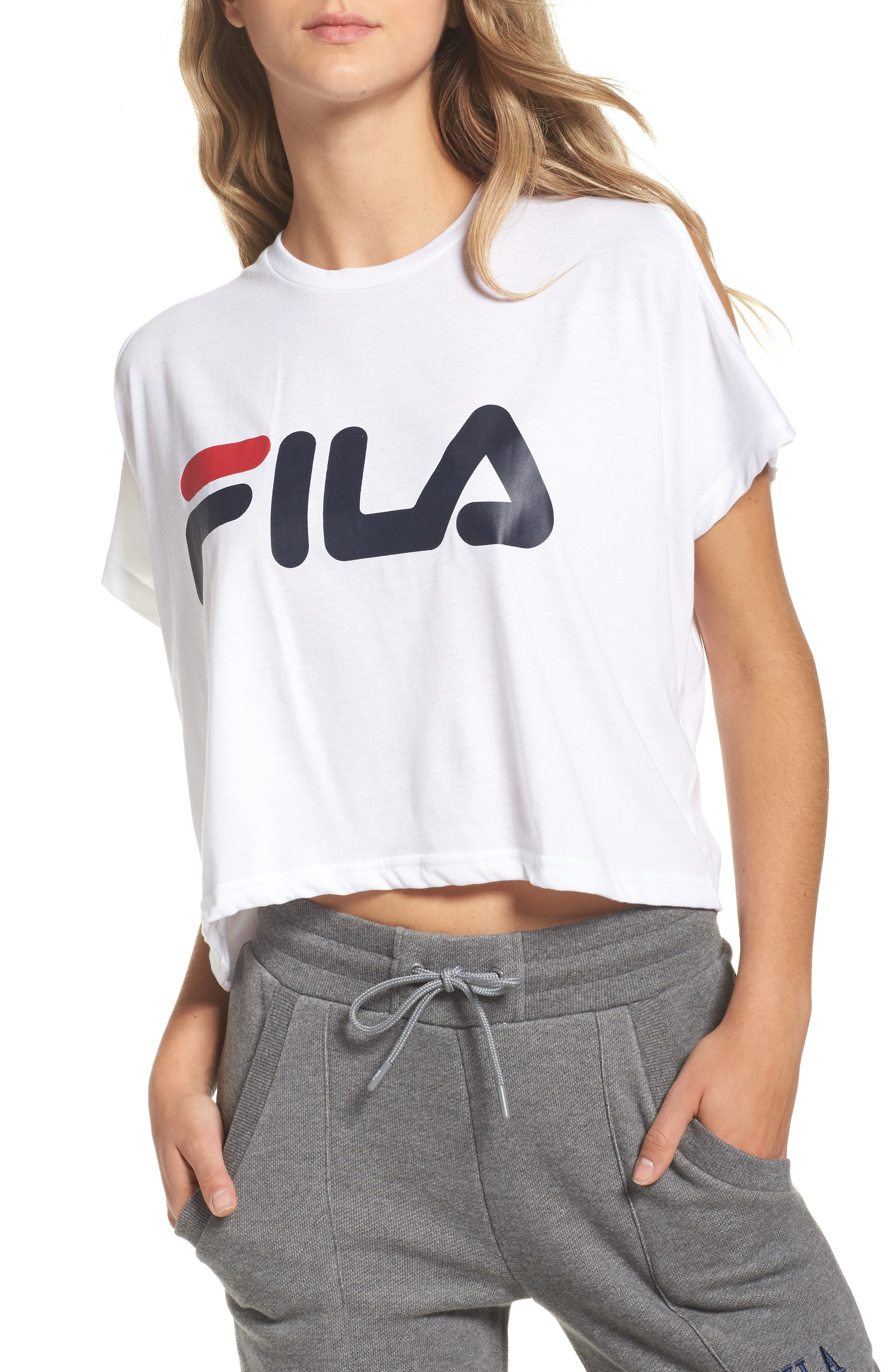 Alternate Image 1 Selected - FILA Nikki Cold Shoulder Crop Tee