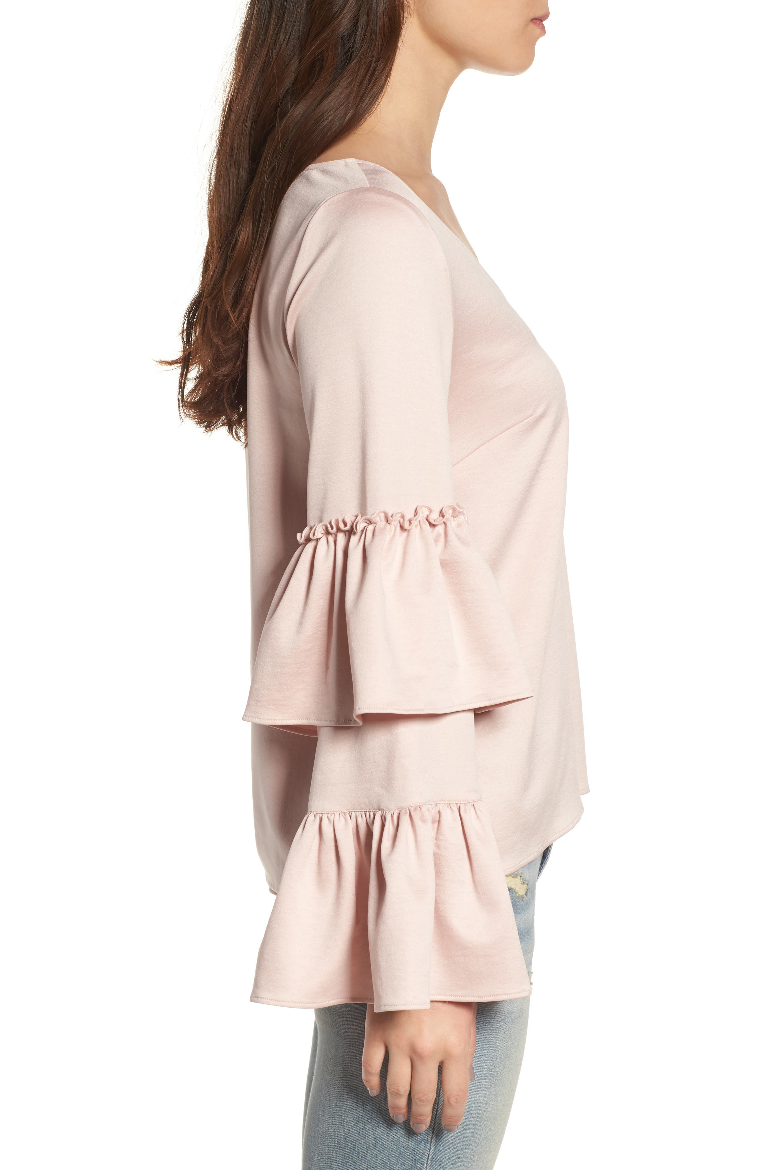 Ruffle Sleeve Satin Blouse,                             Alternate thumbnail 3, color,                             Pink Peach