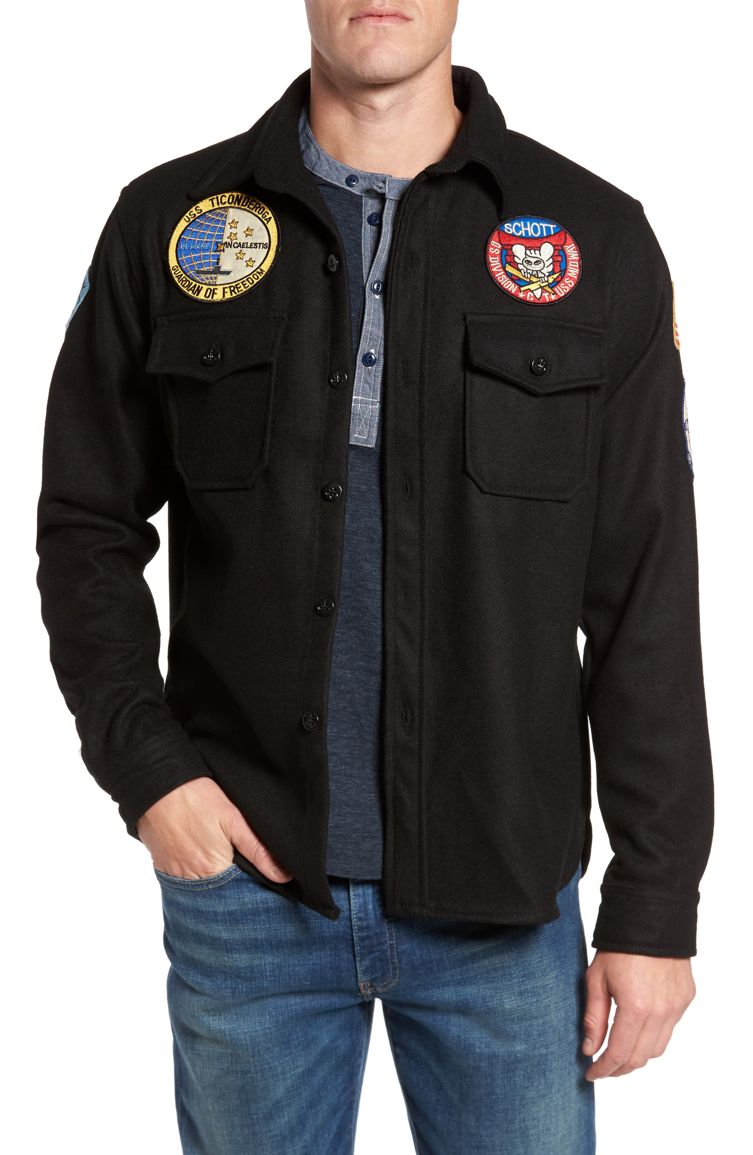 Embroidered Patch Wool Blend Jacket,                             Main thumbnail 1, color,                             Black
