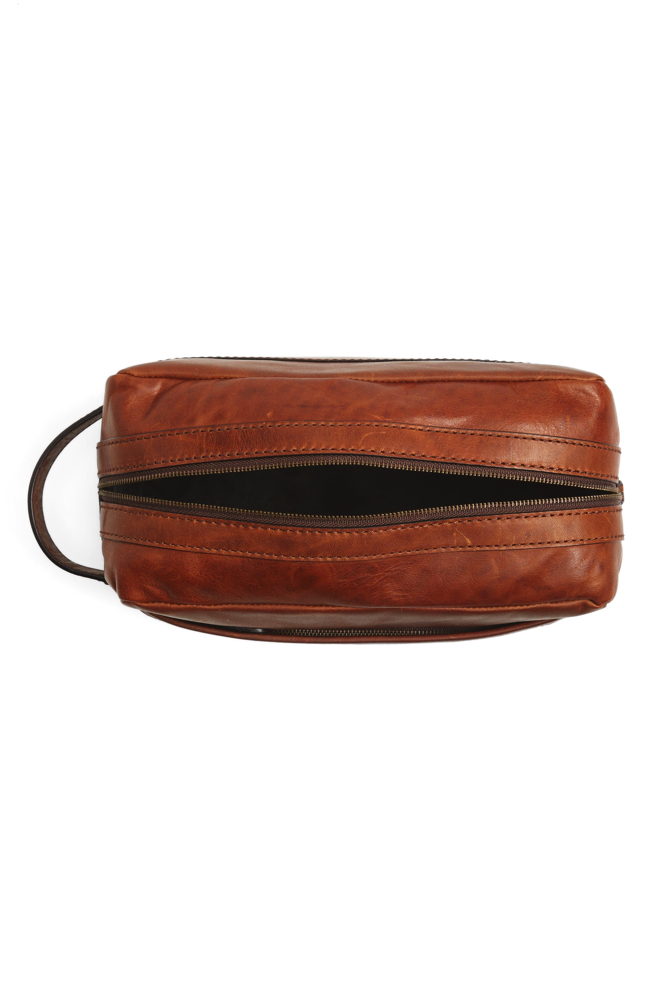'Logan' Leather Travel Kit,                             Alternate thumbnail 4, color,                             Cognac