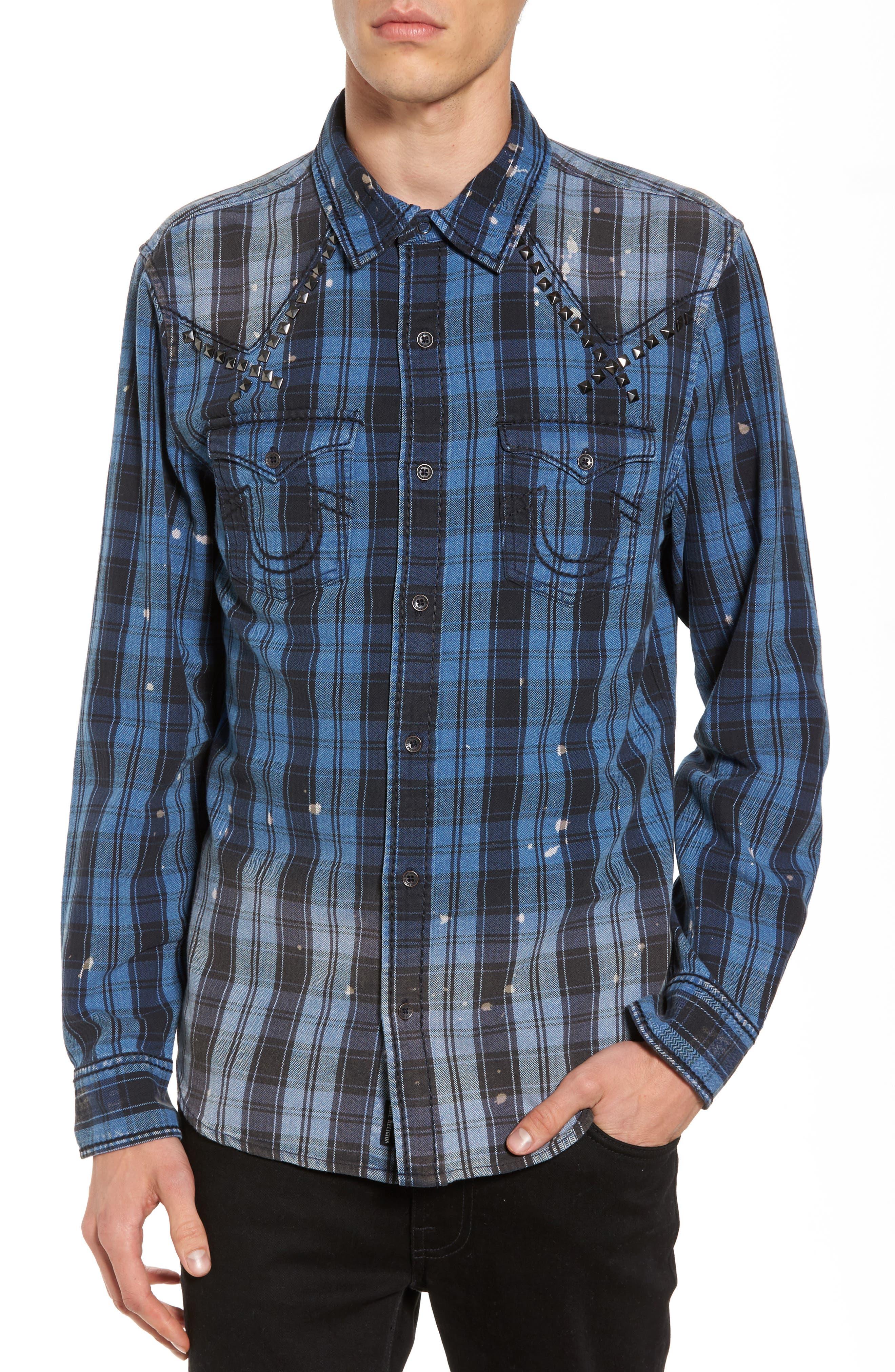 Studded Shirt,                         Main,                         color, Indigo