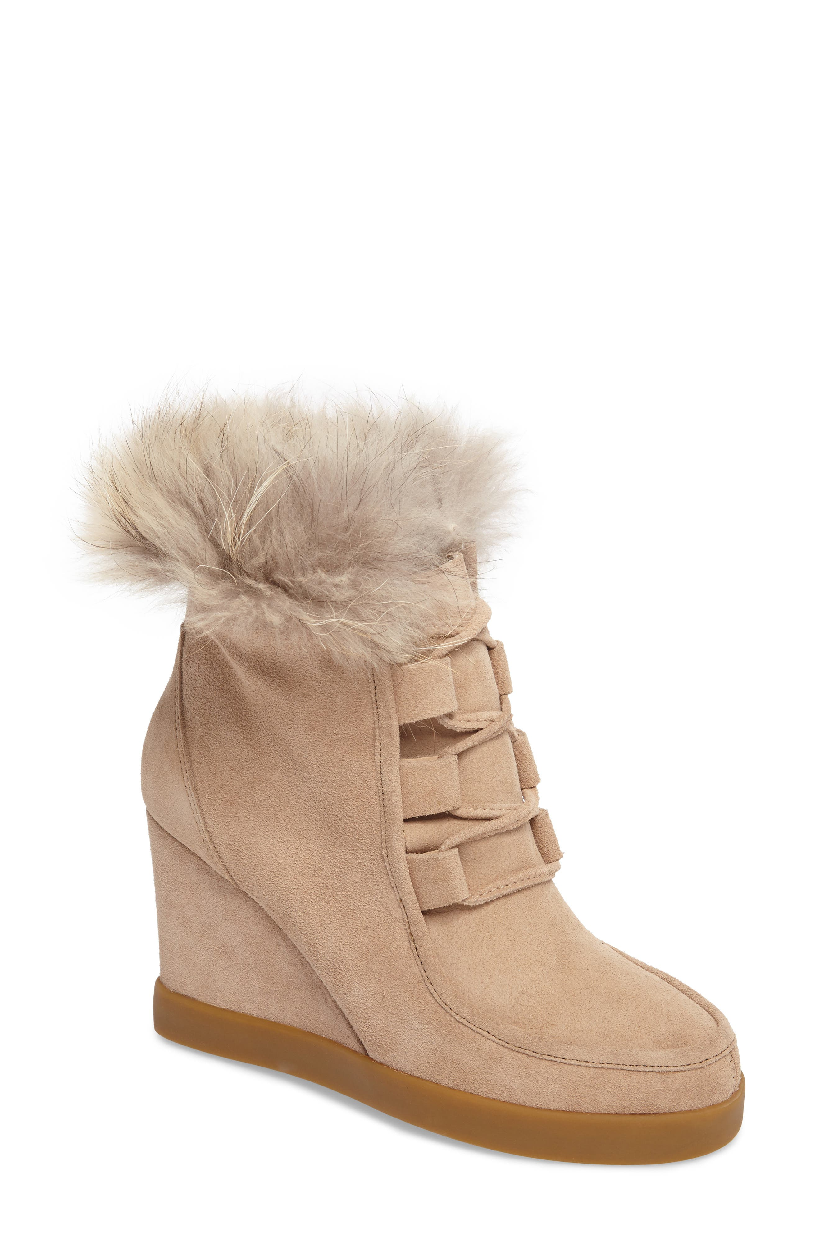 Holly Wedge Bootie with Genuine Fox Fur Trim,                             Main thumbnail 1, color,                             Natural Suede