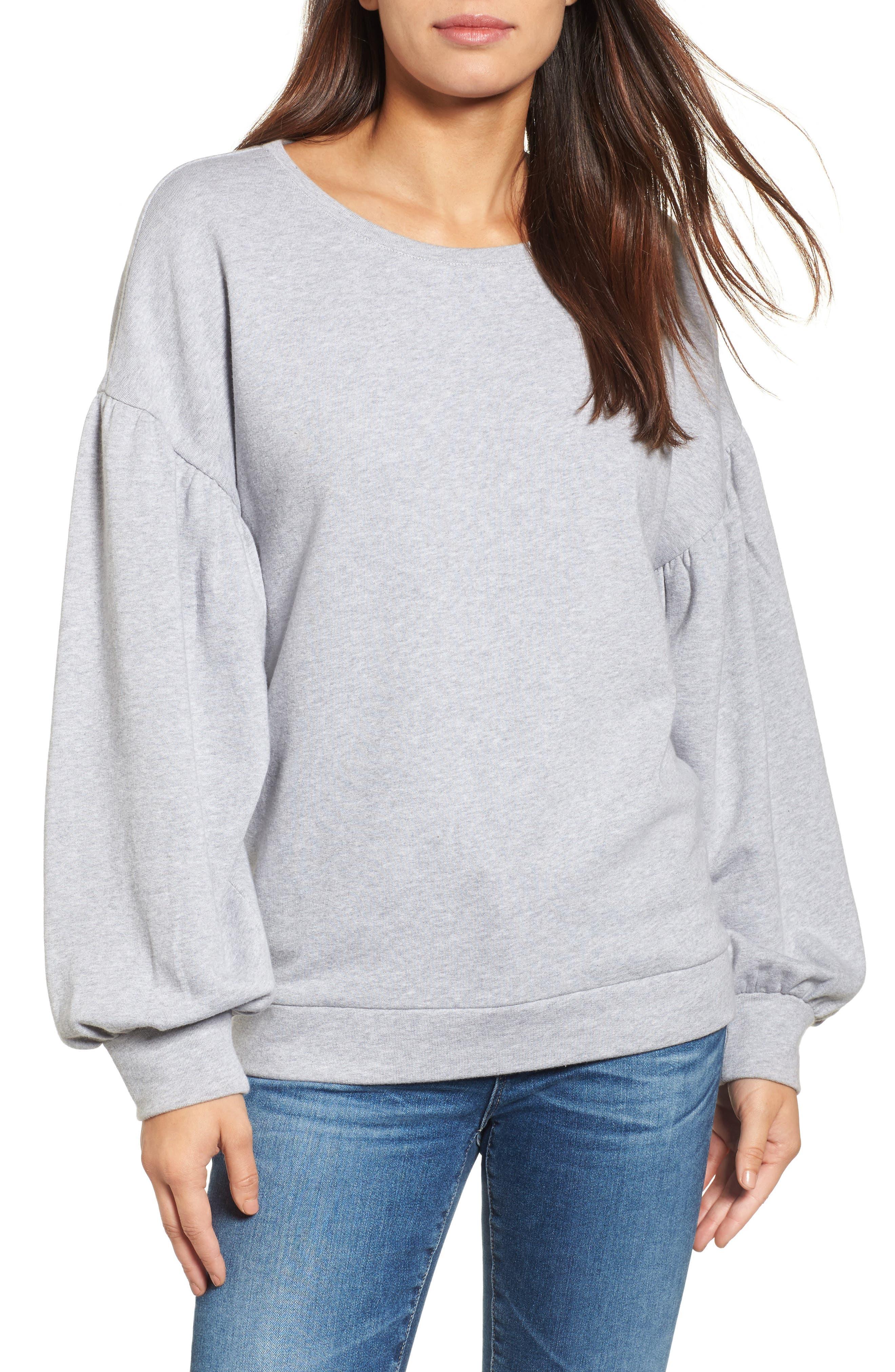 Blouson Sleeve Sweatshirt,                         Main,                         color, Grey