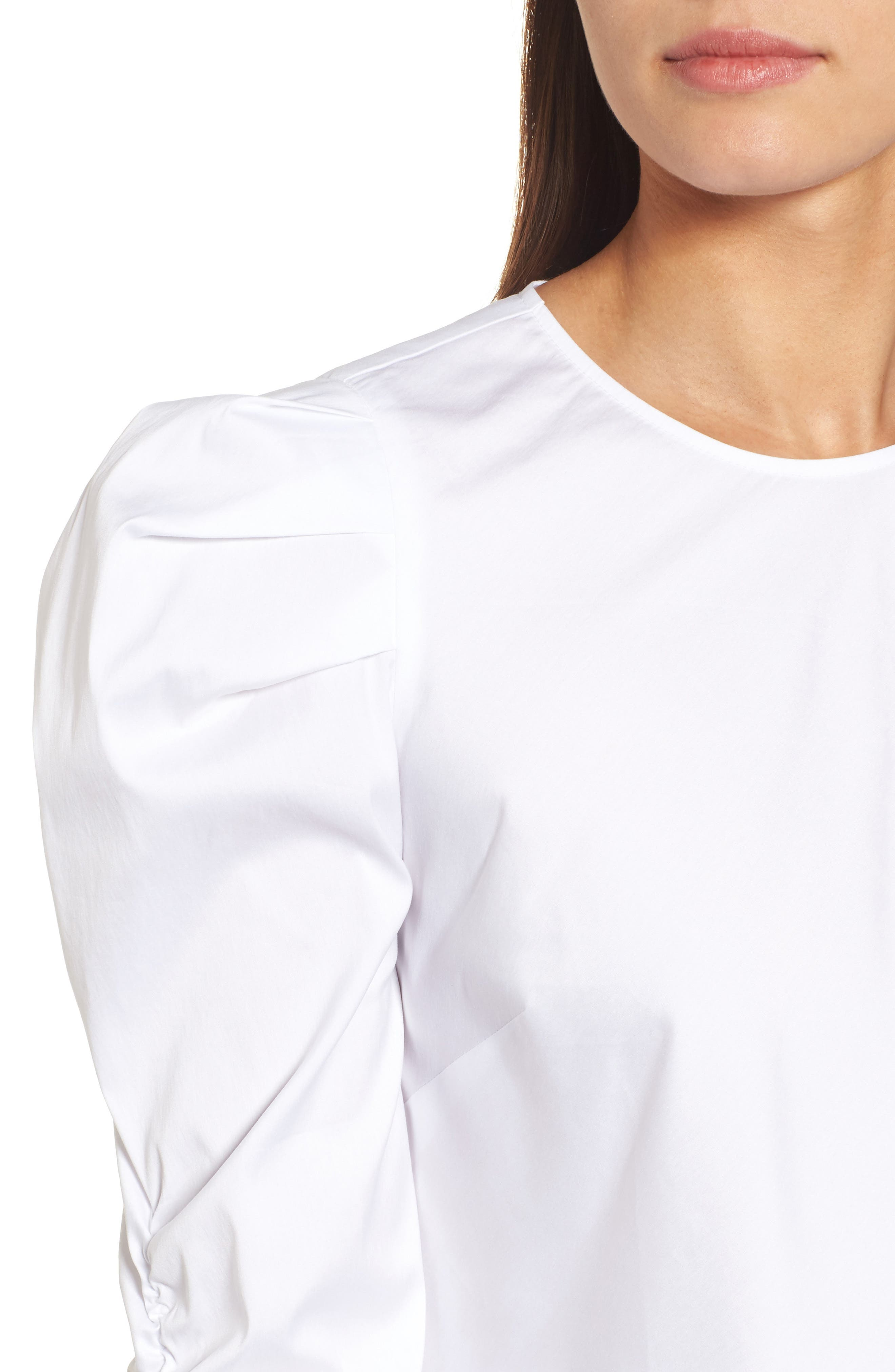 Ruched Sleeve Poplin Top,                             Alternate thumbnail 4, color,                             White