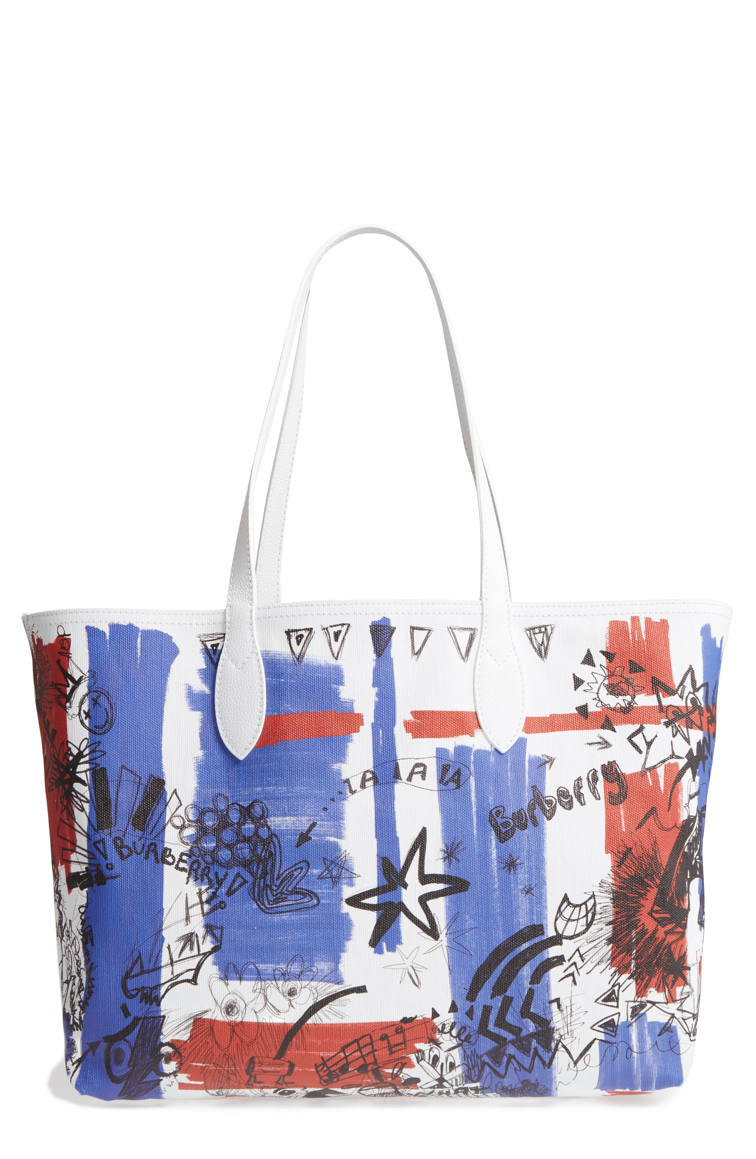 Sketchbook Series Reversible Coated Canvas Tote,                             Main thumbnail 1, color,                             White/ White