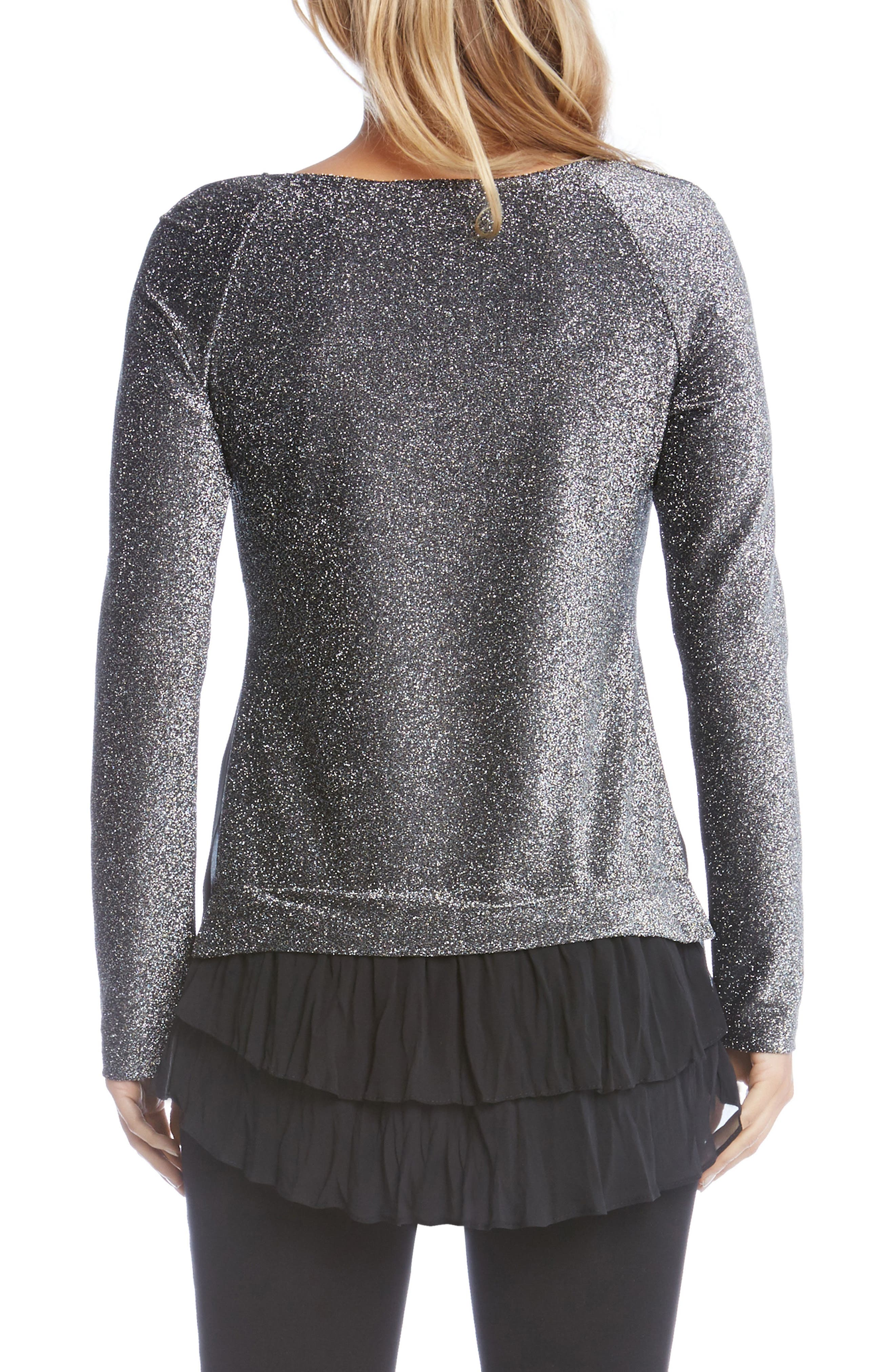 Sheer Hem Sparkle Top,                             Alternate thumbnail 3, color,                             Black W/ Silver