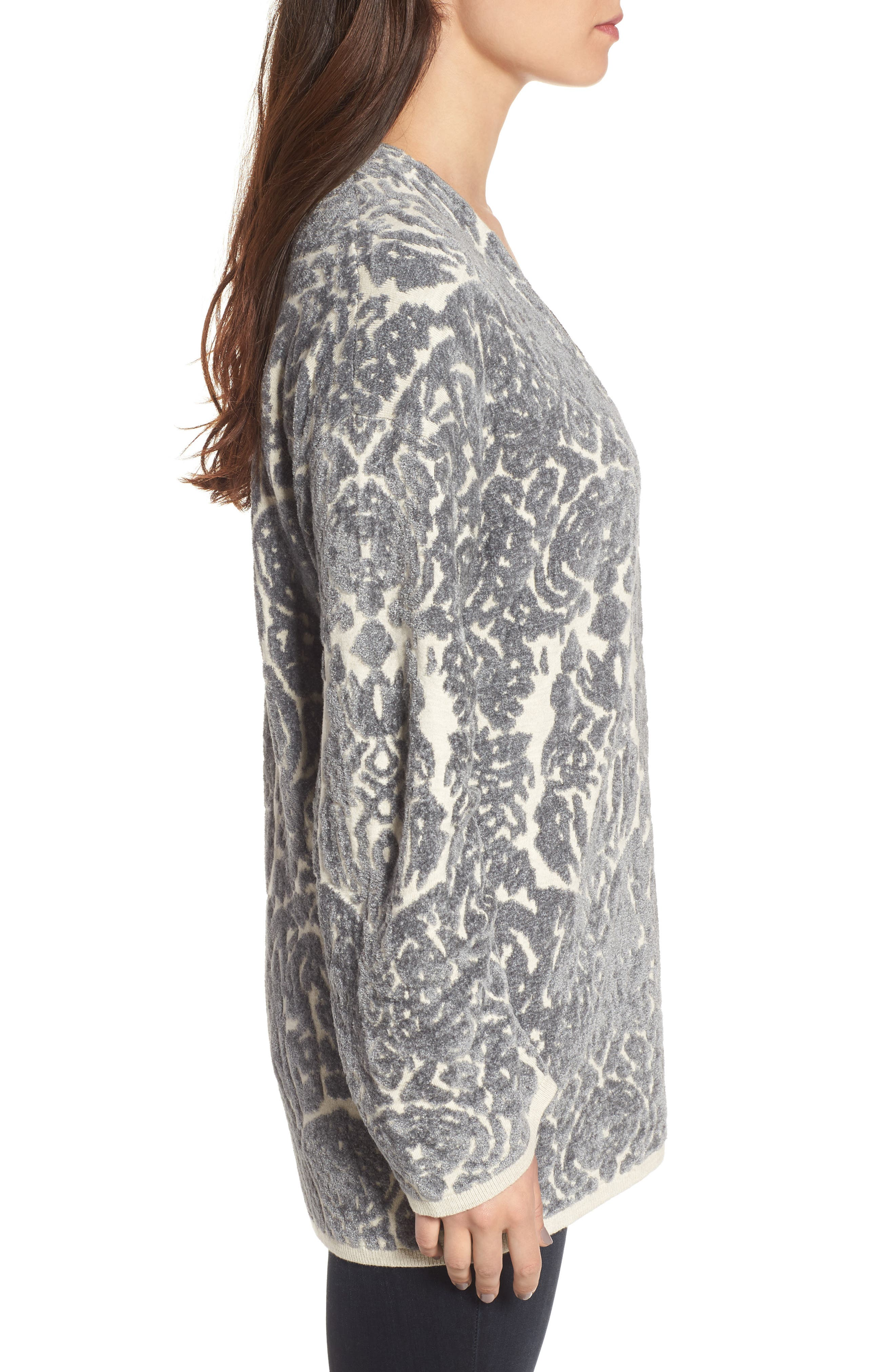 Embroidered Cardigan,                             Alternate thumbnail 3, color,                             Beige Oatmeal Heather Combo