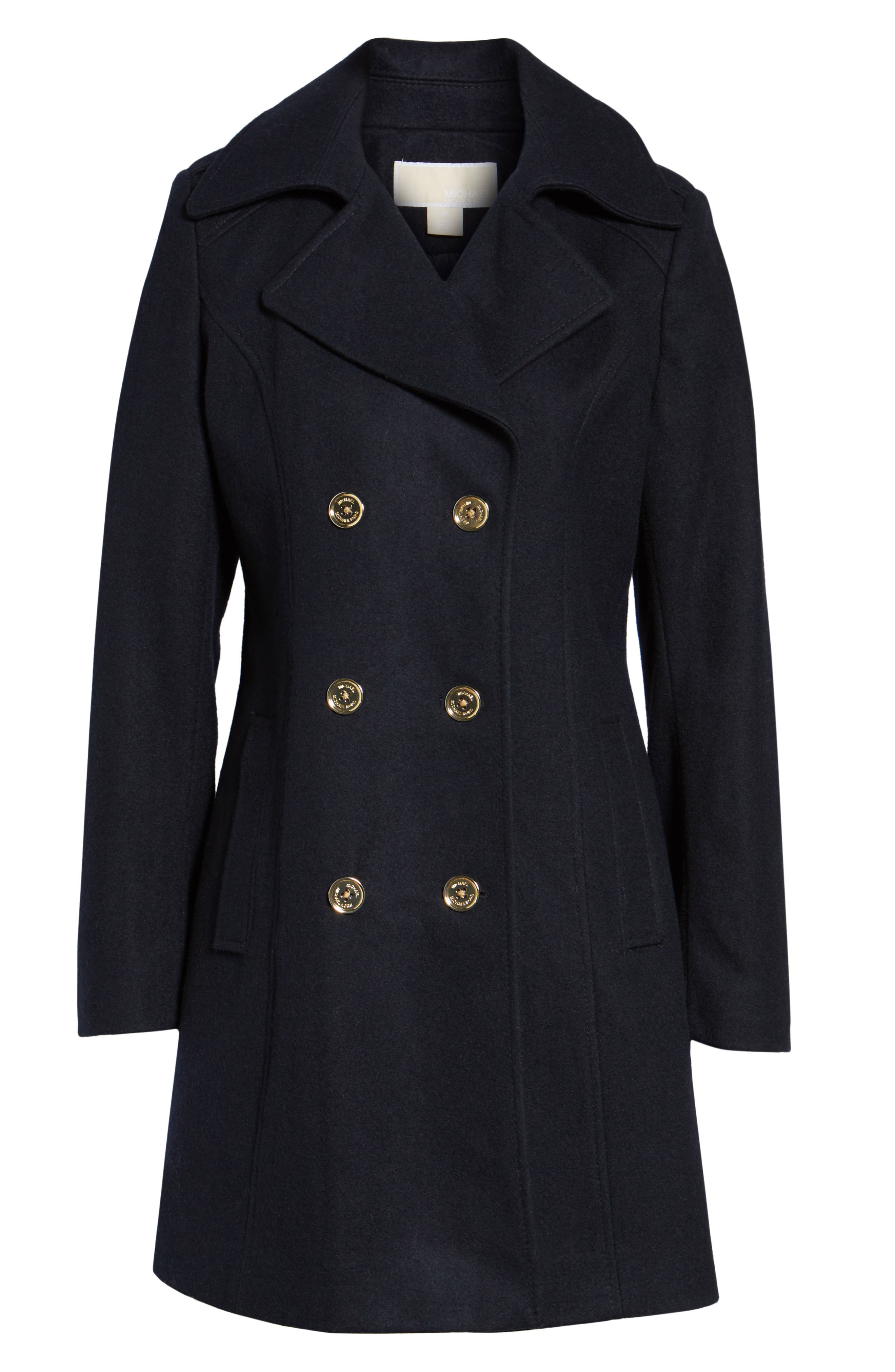 Double Breasted Wool Blend Peacoat,                             Alternate thumbnail 6, color,                             Navy