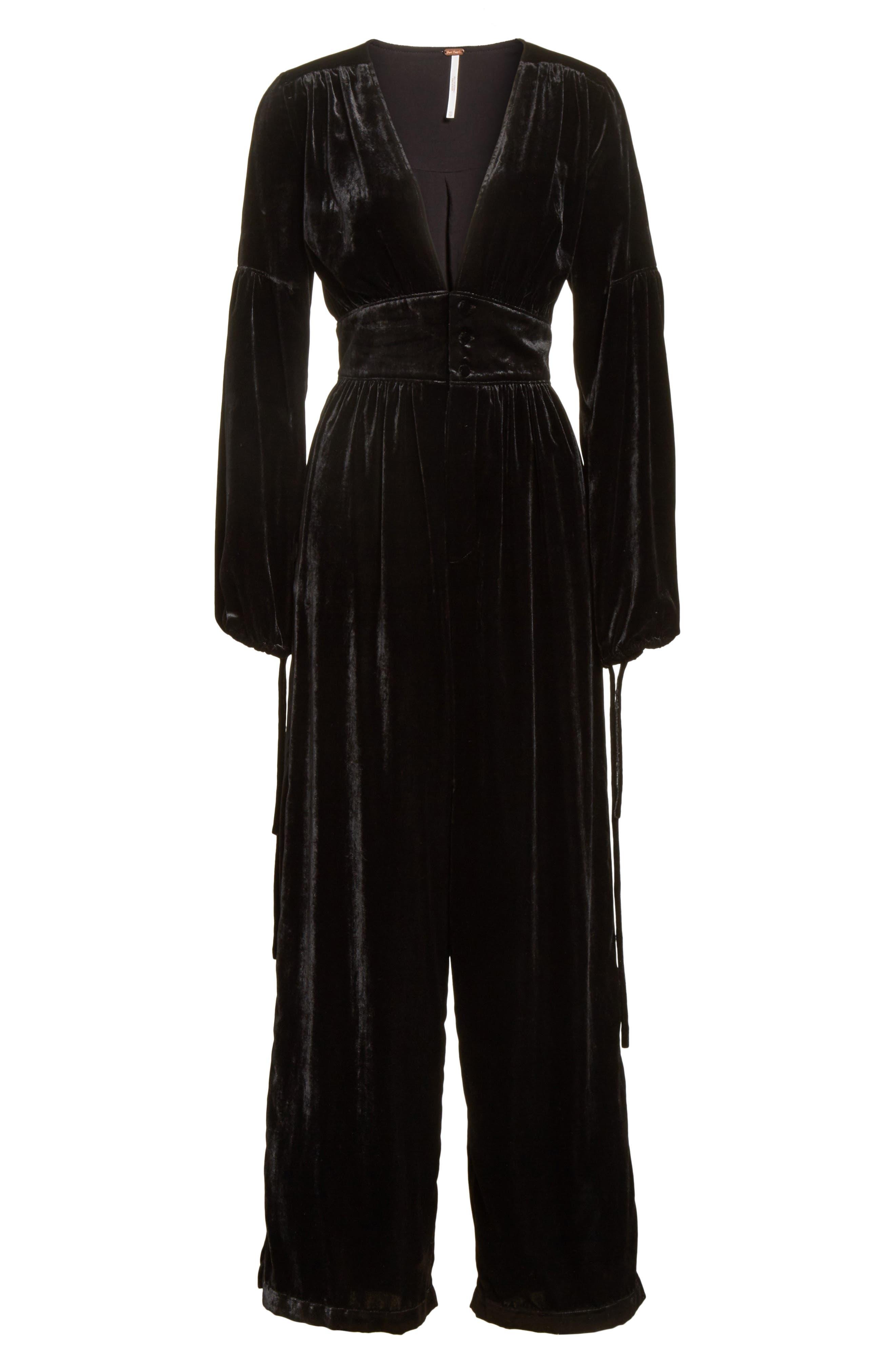 True Lovin Velvet Jumpsuit,                             Alternate thumbnail 7, color,                             Black