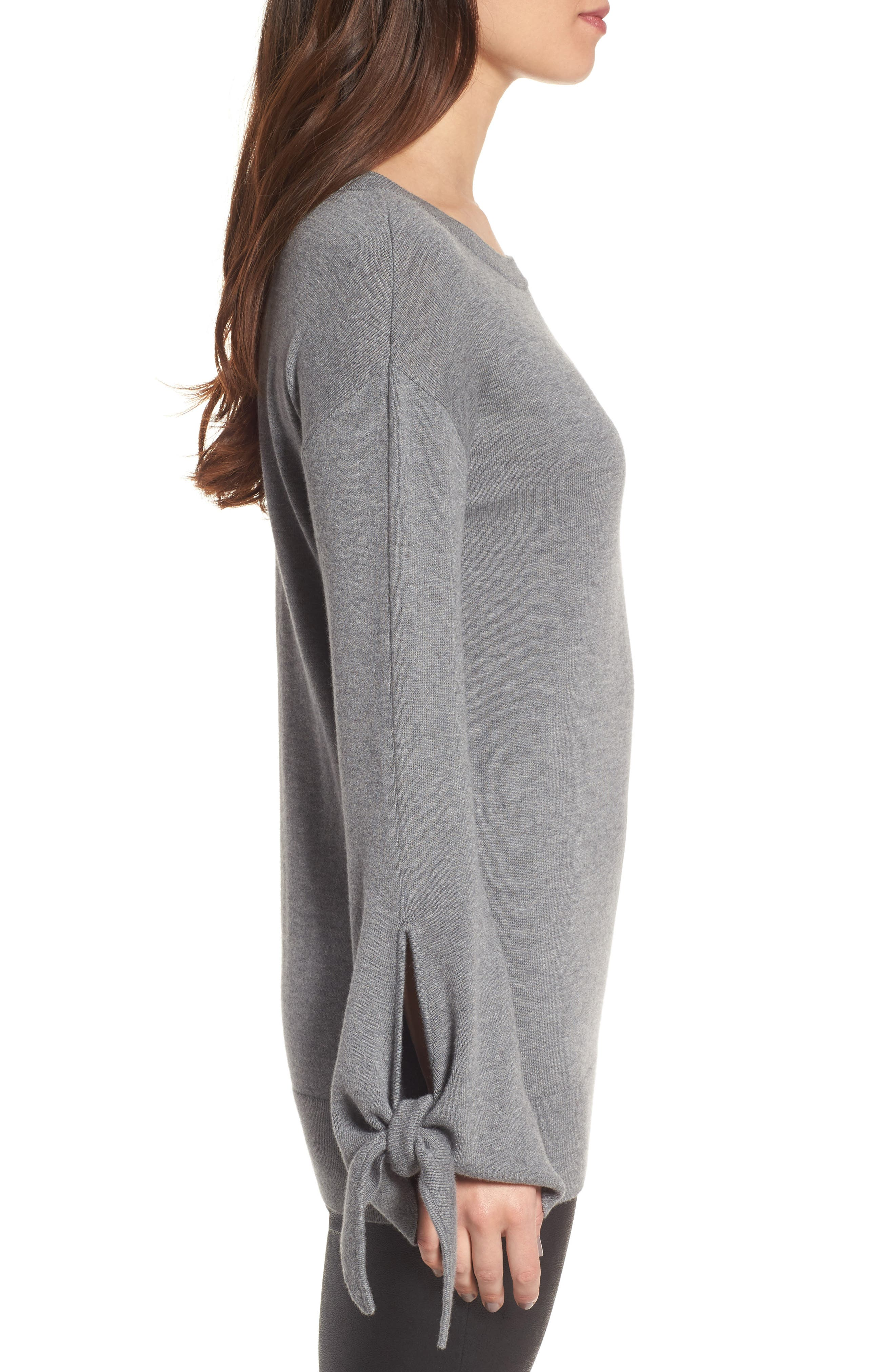Tie Sleeve Sweater,                             Alternate thumbnail 3, color,                             Grey Dark Heather