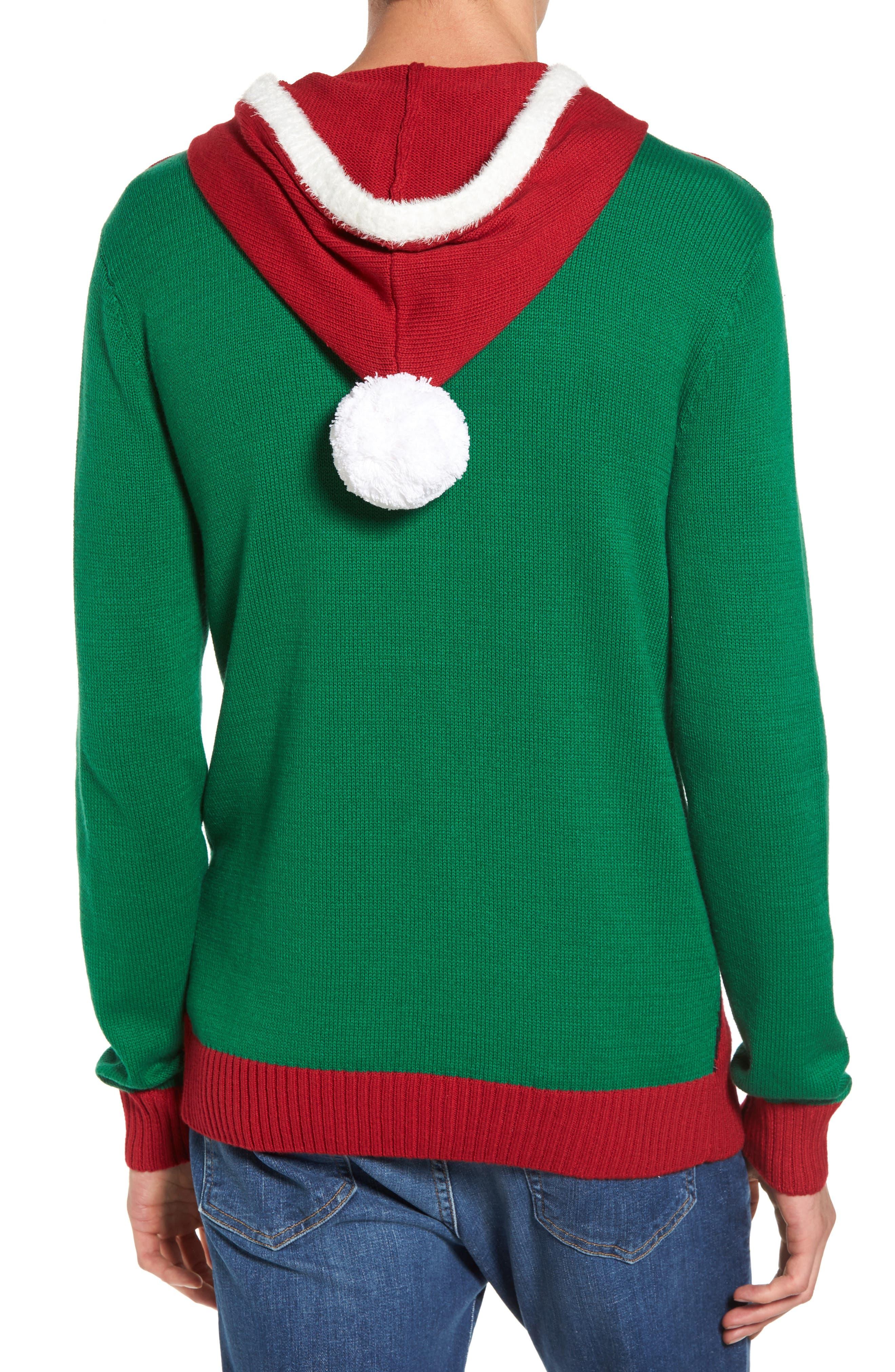 Santa Hoodie Sweater,                             Alternate thumbnail 2, color,                             Green Santa