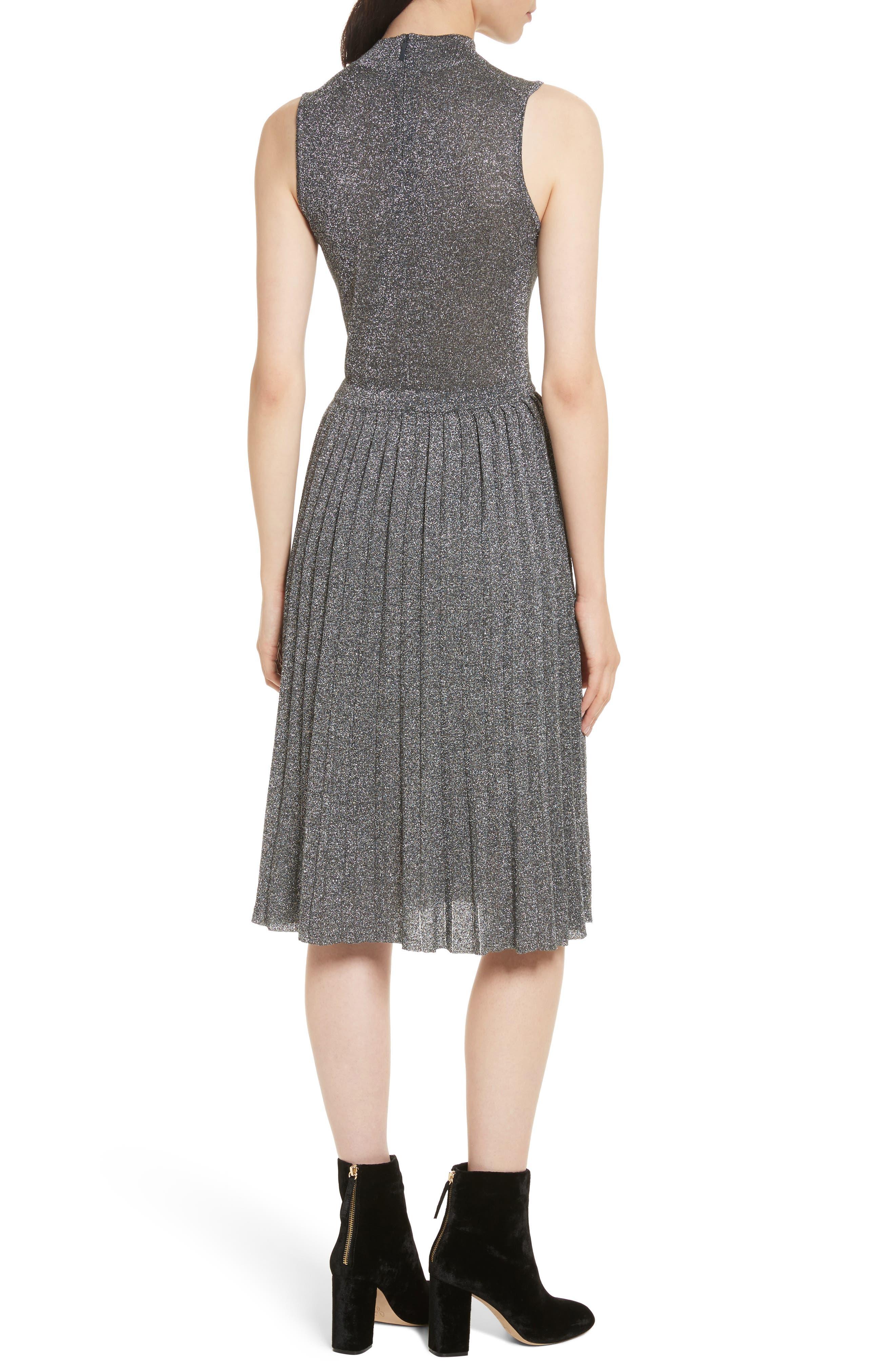 metallic knot sweater dress,                             Alternate thumbnail 2, color,                             Dark Silver