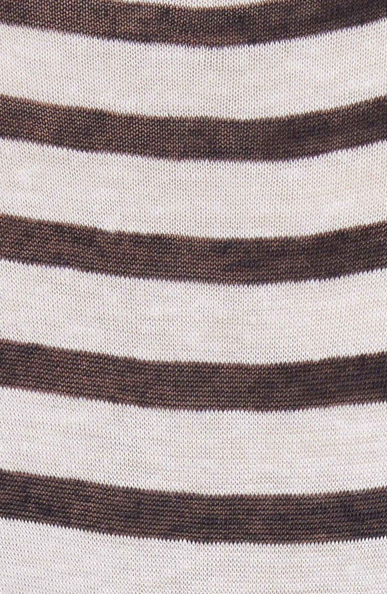 Back Tie Stripe Slub Jersey Tee,                             Alternate thumbnail 5, color,                             Ivory/ Ink Stripe