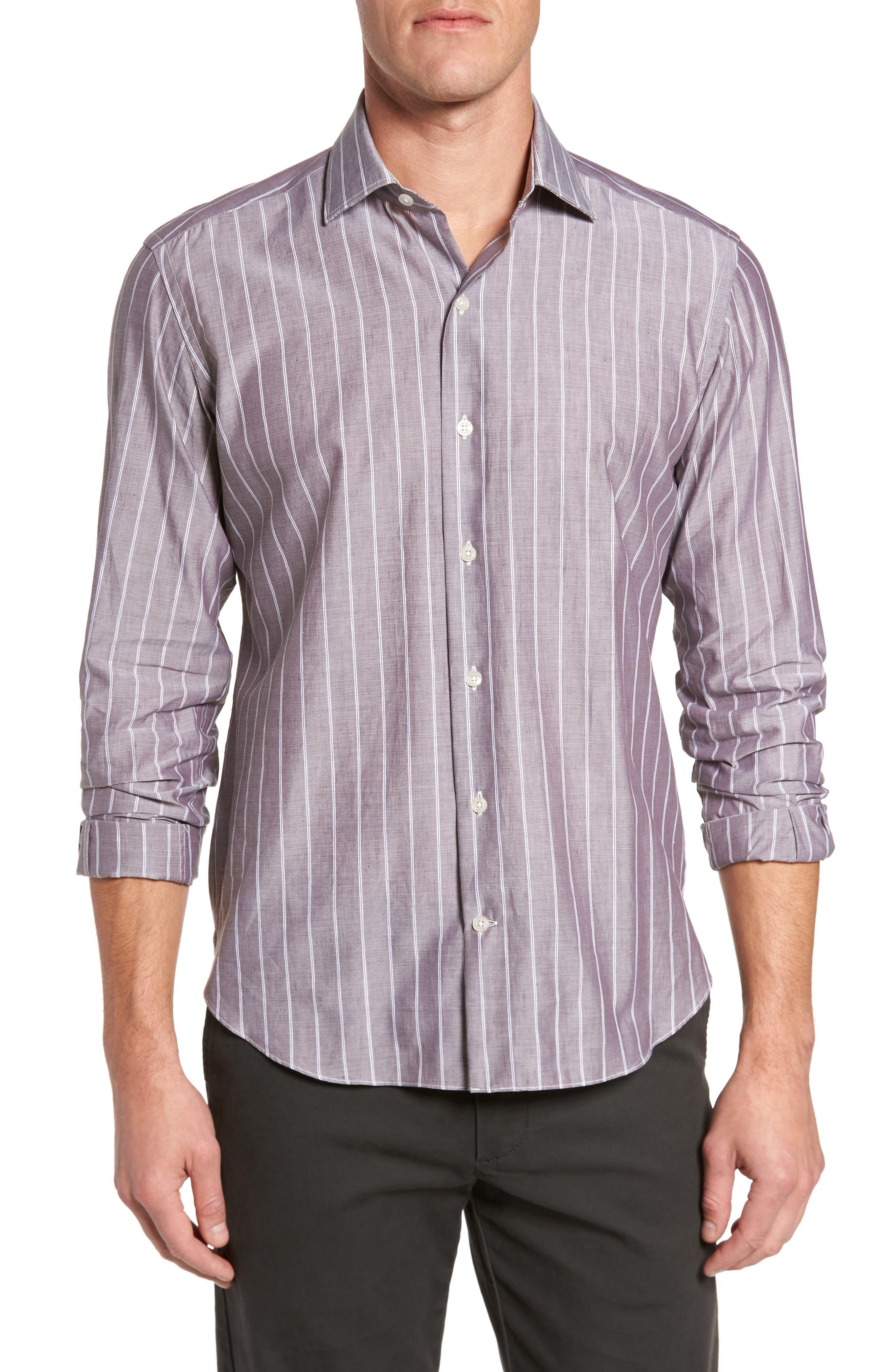 Culturata Barr Slim Fit Stripe Sport Shirt