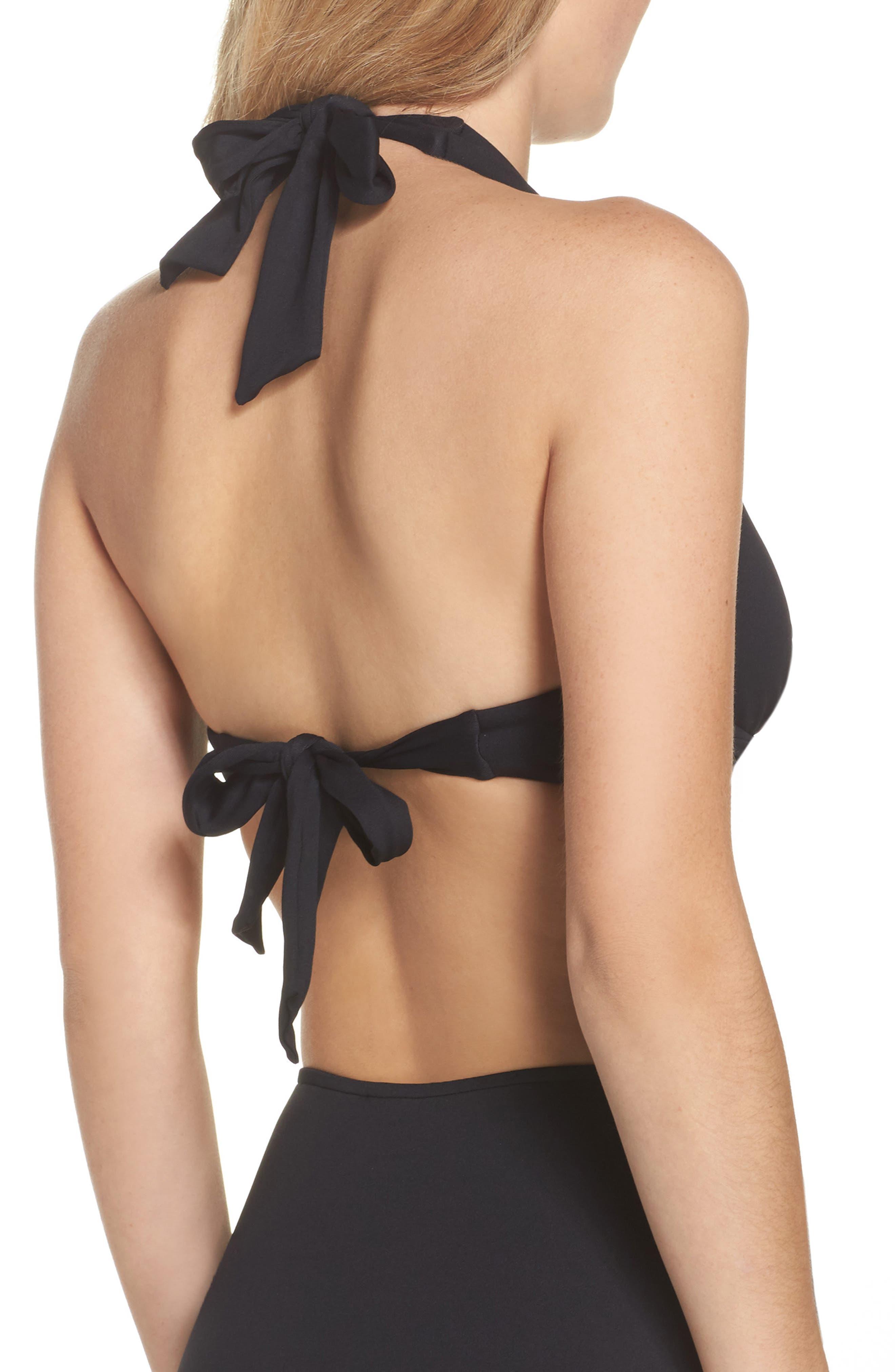Twist D-Cup Underwire Halter Bikini Top,                             Alternate thumbnail 2, color,                             Black