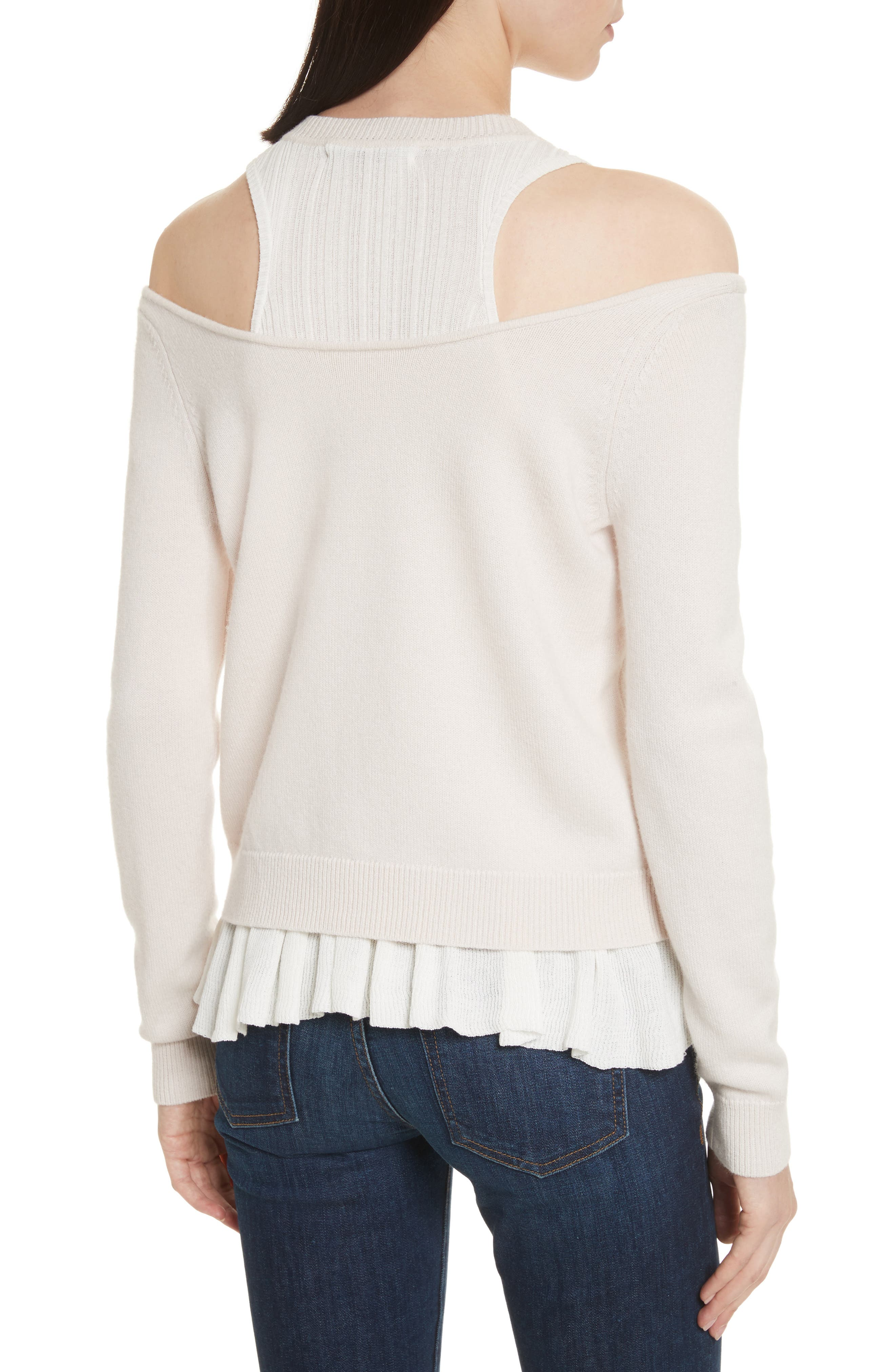 Layered Cold Shoulder Sweater,                             Alternate thumbnail 2, color,                             Ballet