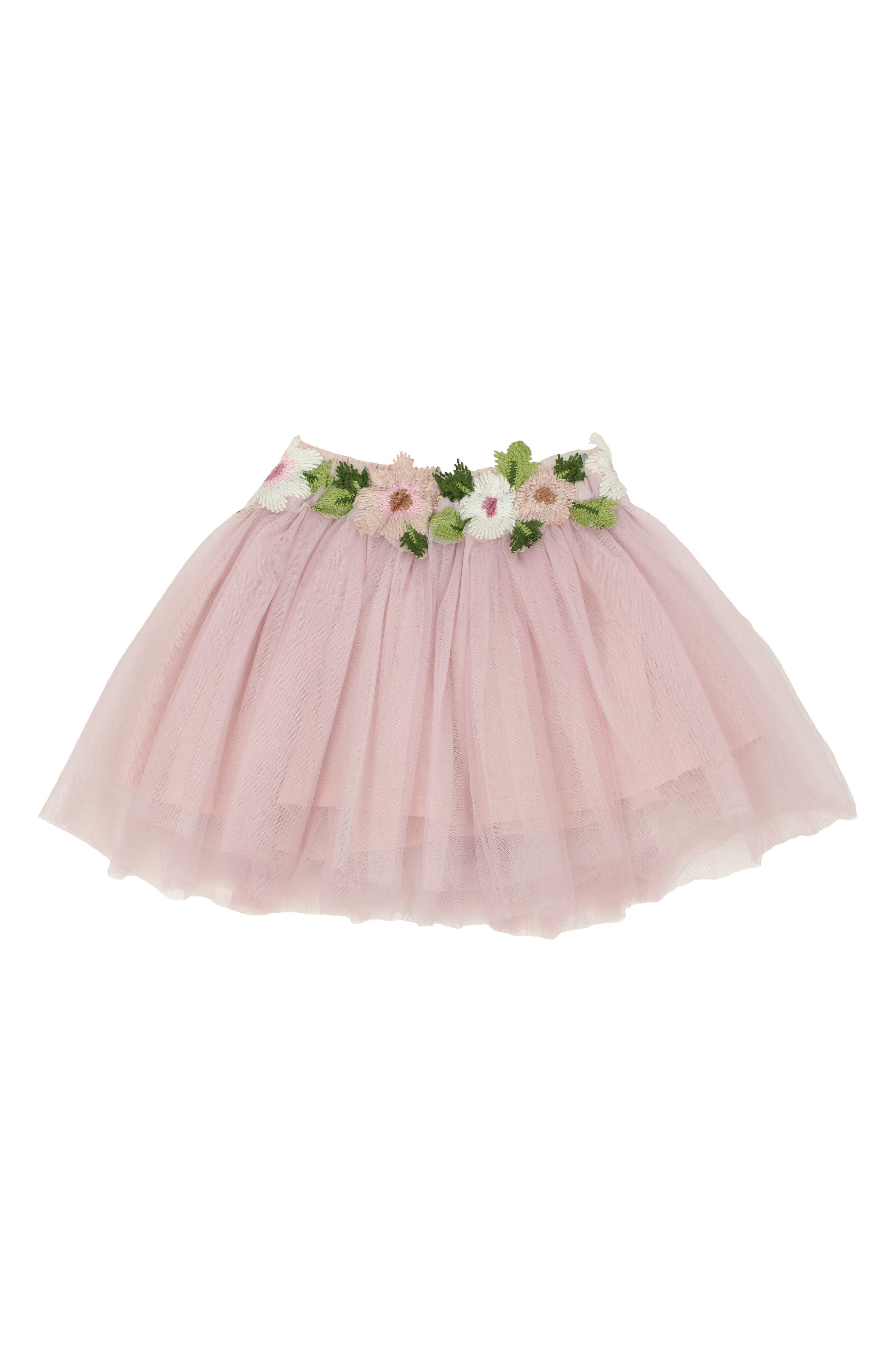 Main Image - Popatu Floral Embellished Tulle Skirt (Toddler Girls & Little Girls)