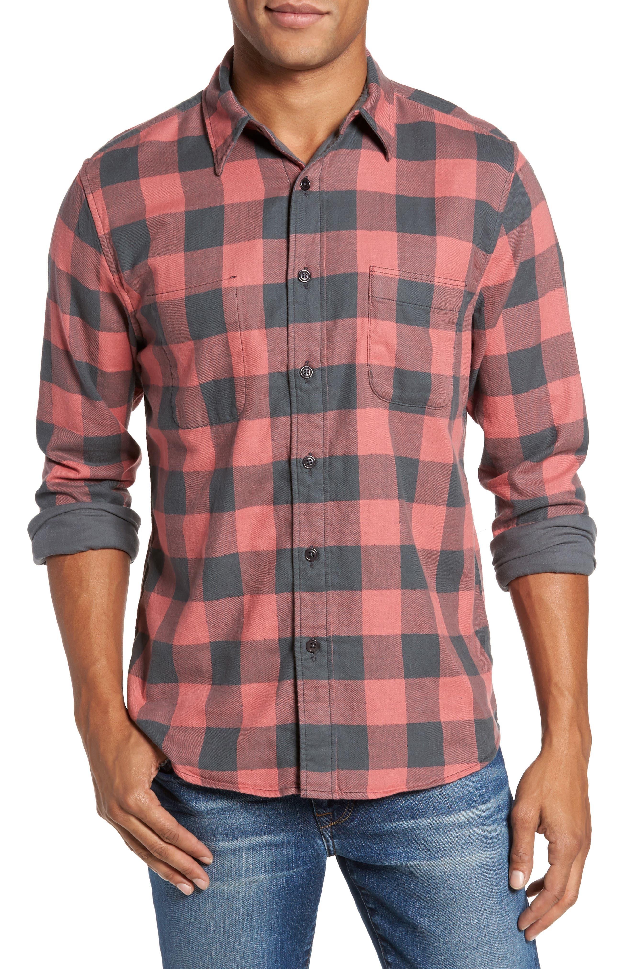 Belmar Trim Fit Long Sleeve Reversible Sport Shirt,                         Main,                         color, Grey / Red Buffalo Check