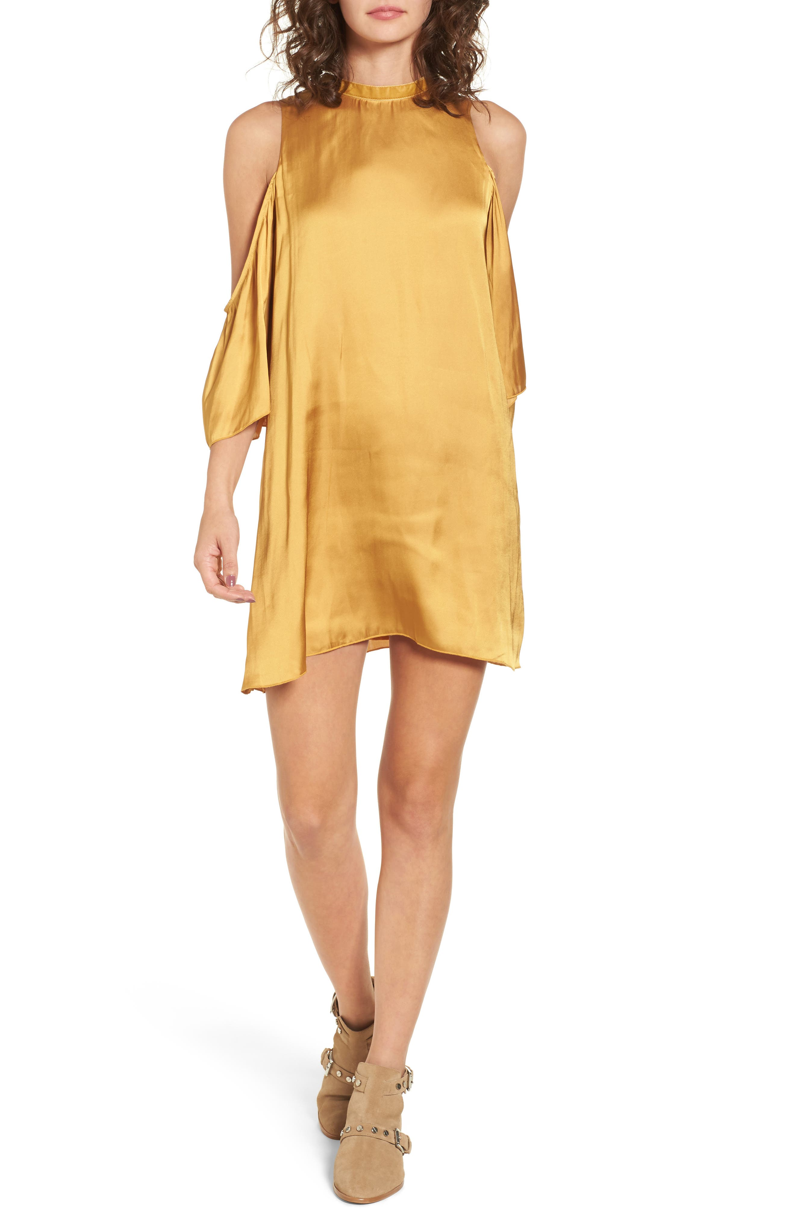Rablo Cold Shoulder Satin Dress,                         Main,                         color, Marigold